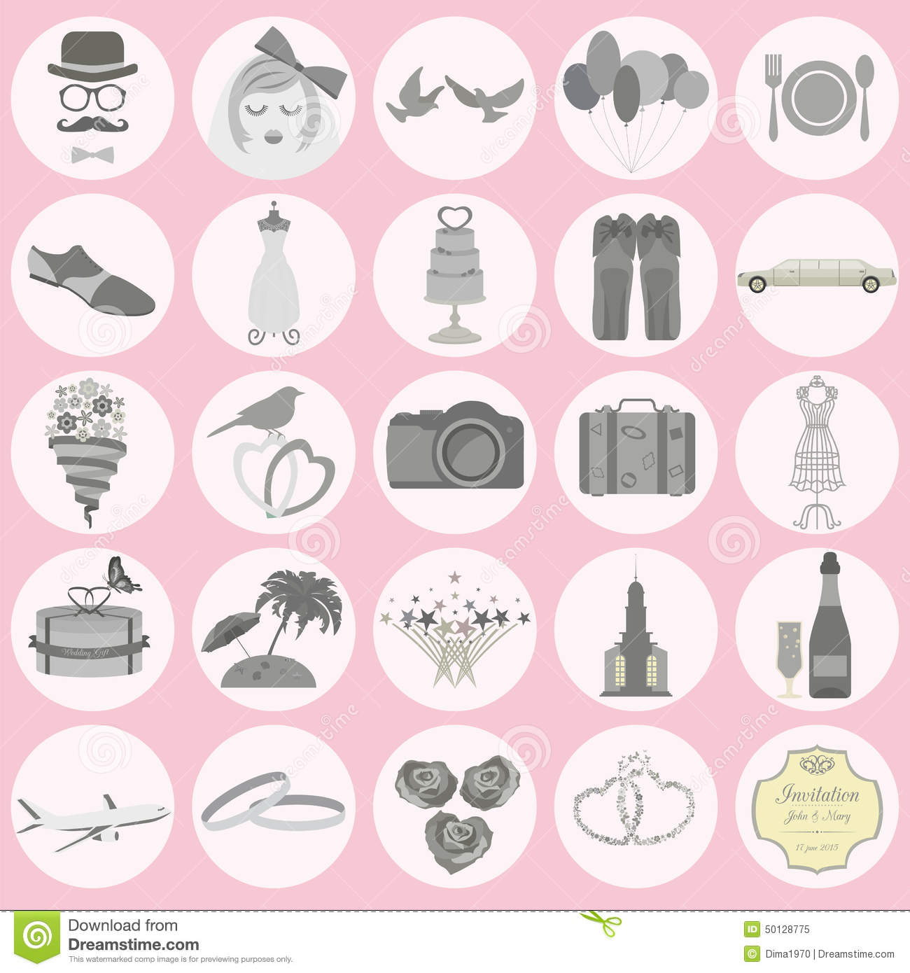 Set Of Vintage Wedding Fashion Style And Travel Elements Icons Stock Vector Illustration Of