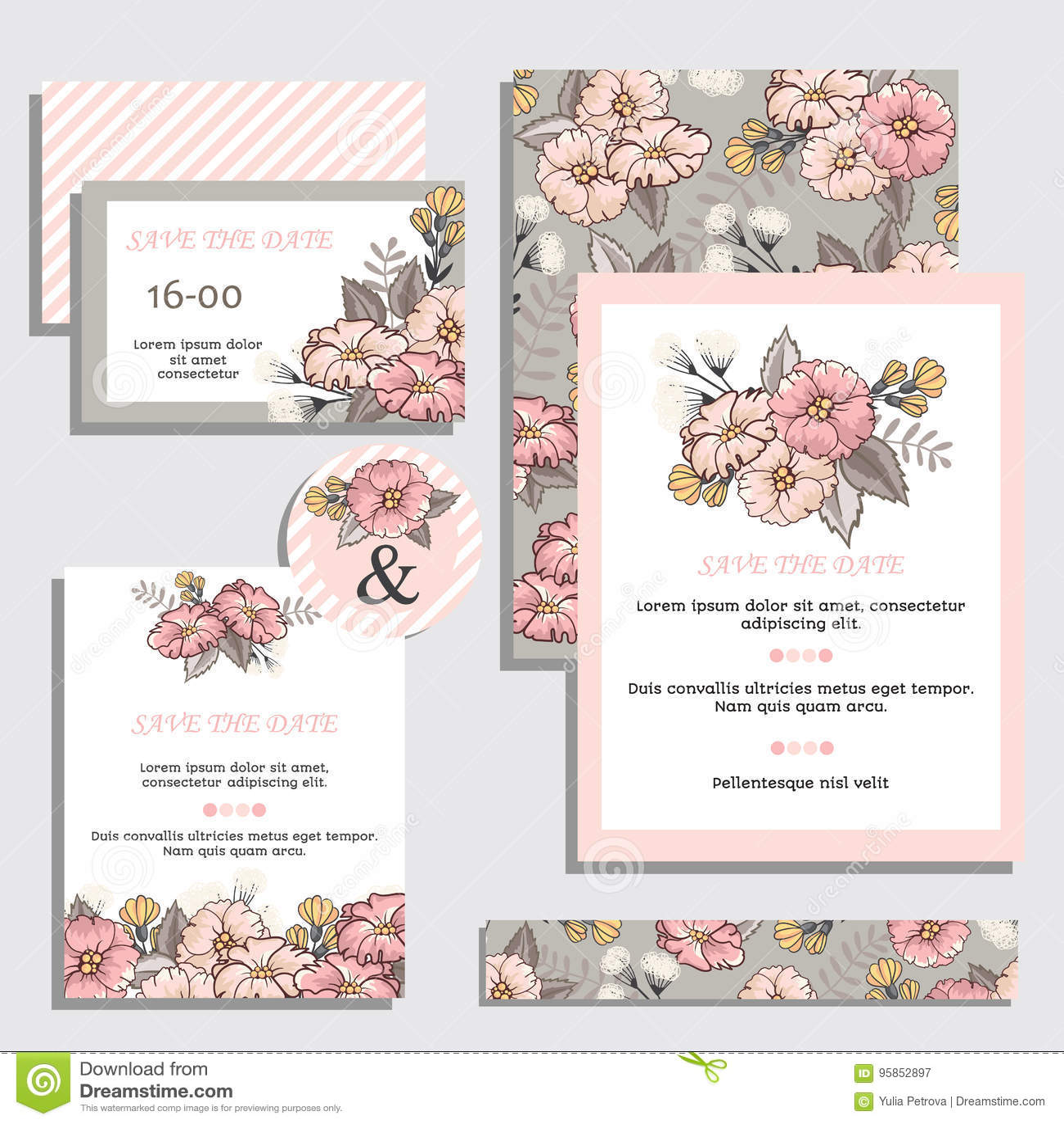 set of vintage wedding invitation cards stock vector illustration of anniversary holiday 95852897 dreamstime com
