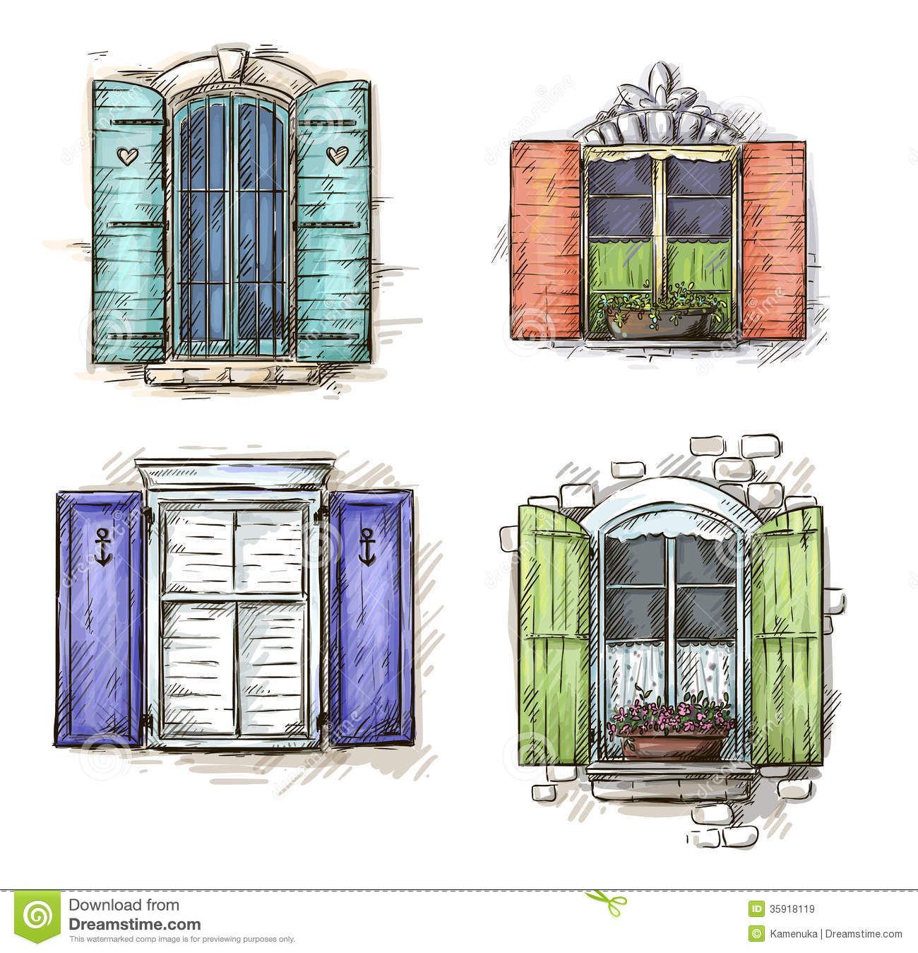 Set Of Vintage Windows Hand Drawn Stock Vector Image
