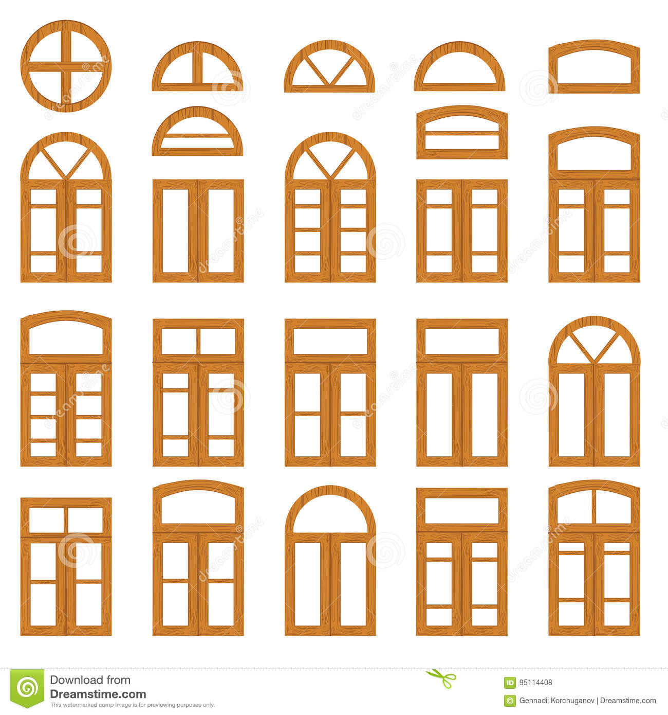 Set Of Vintage Wood Or Wooden Window Frames View . Stock Vector ...