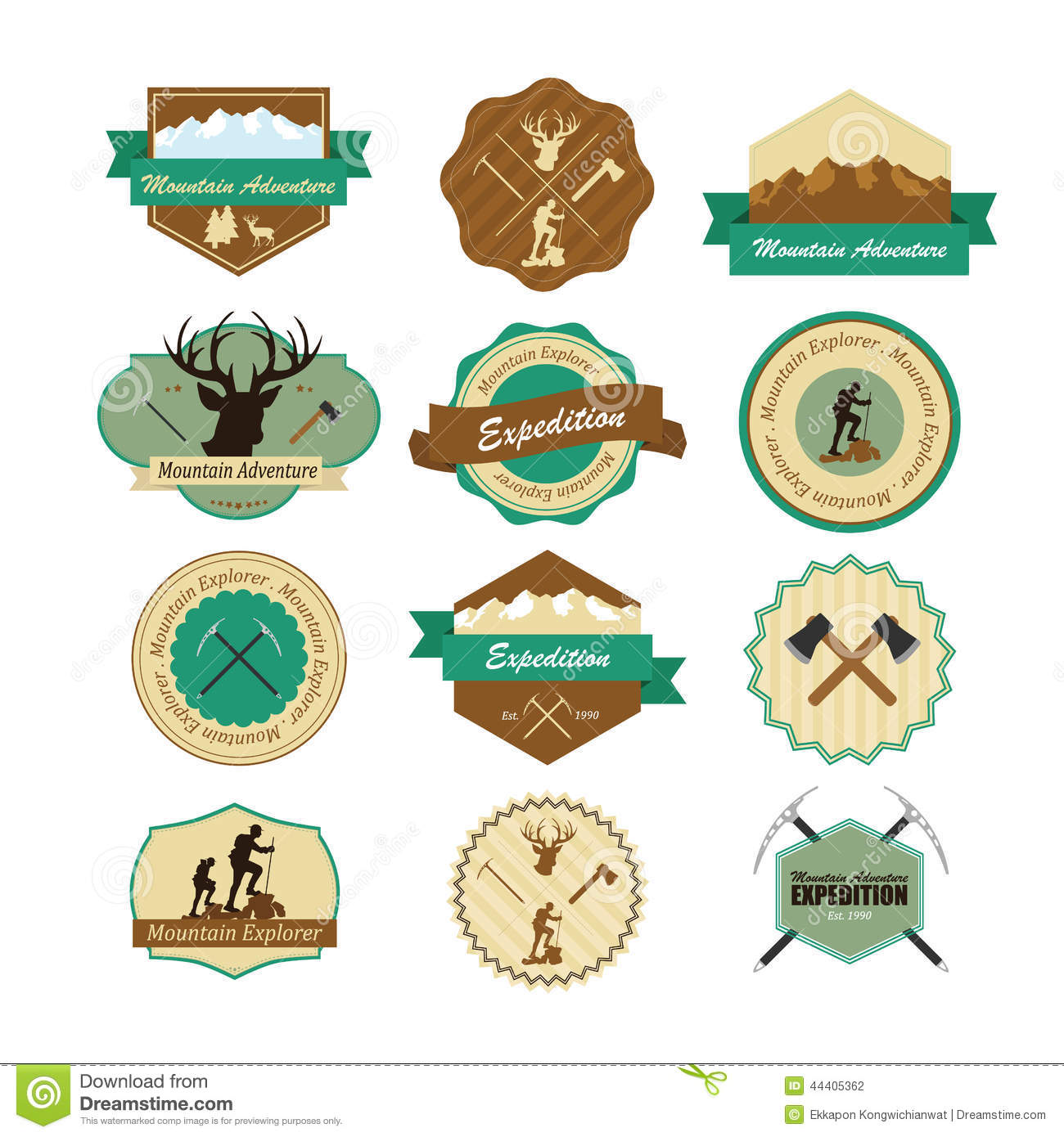 Set of vintage woods camp badges and travel emblems. Illustrator eps10 ...