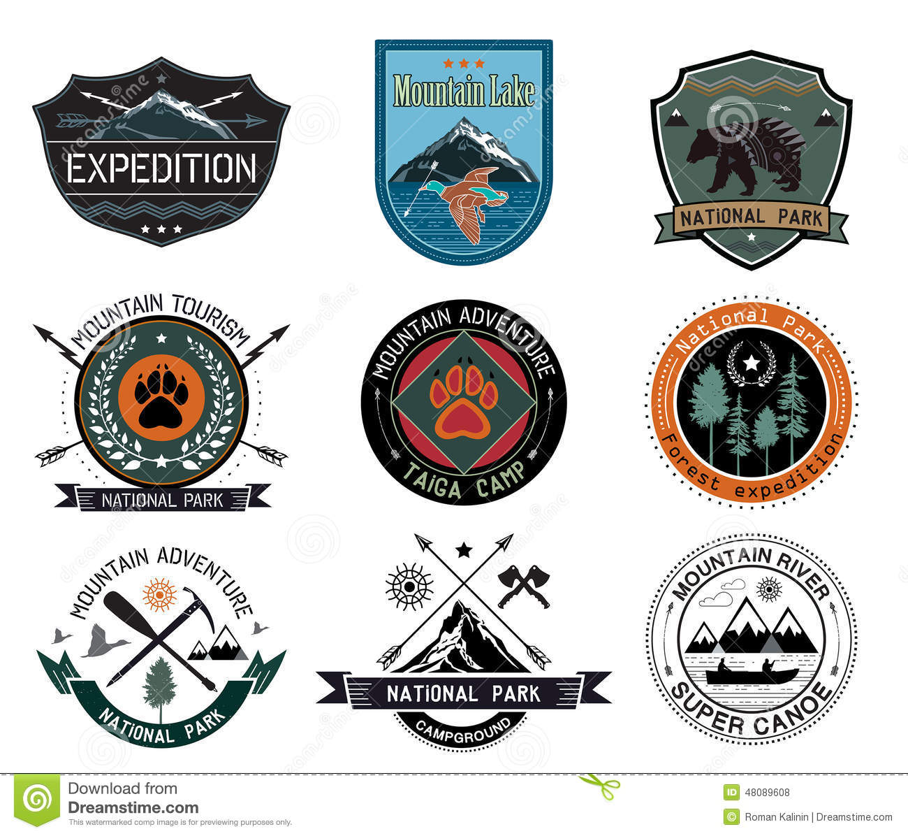 set of vintage woods camp badges and travel logo and design elements