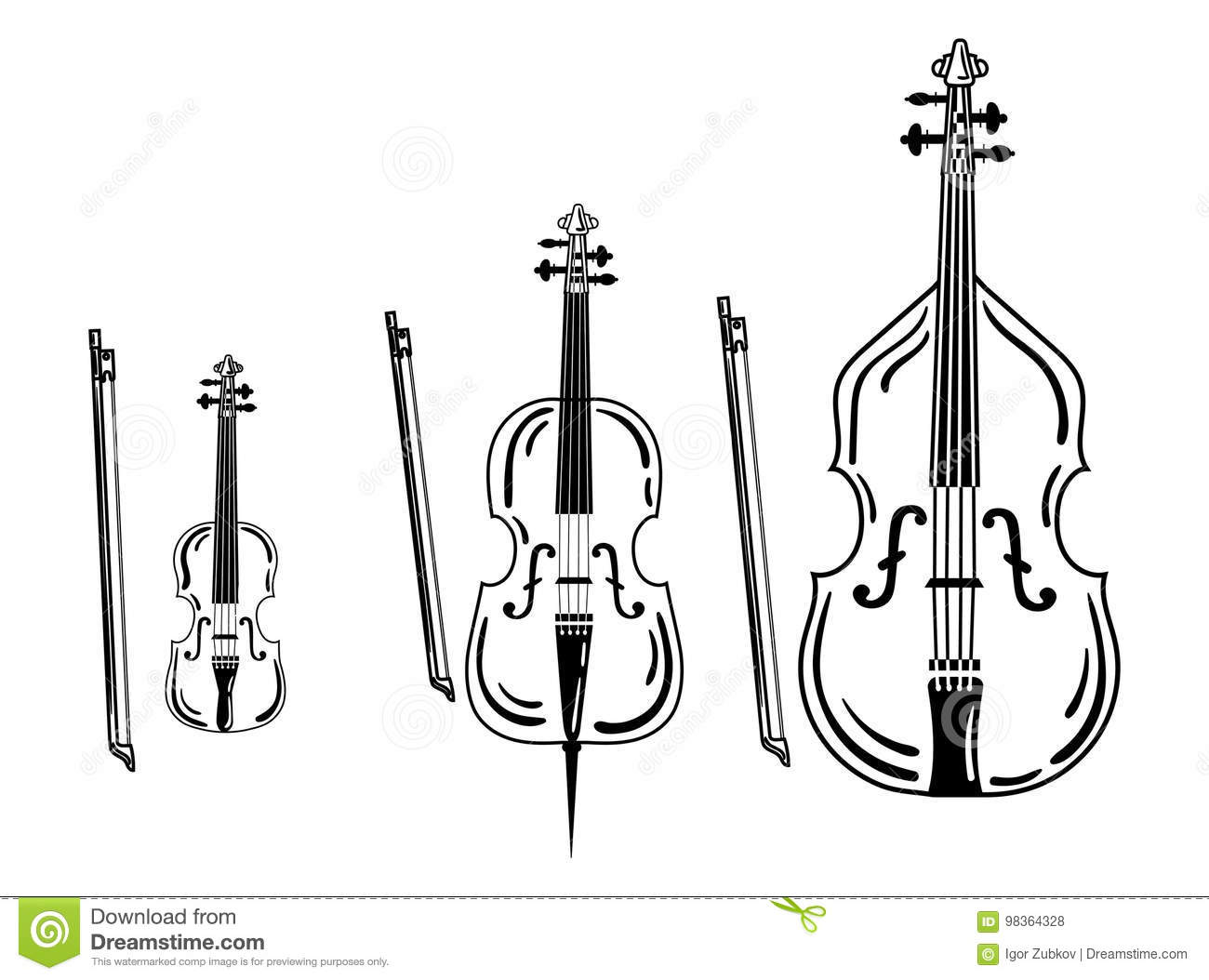 Set Of Violins  Collection Of Bow Musical Instruments