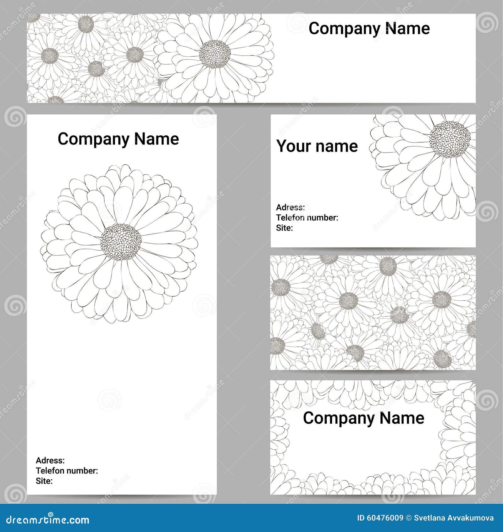 Set Visitenkarten Blumen Schossen In Einer Kunstart In Einem
