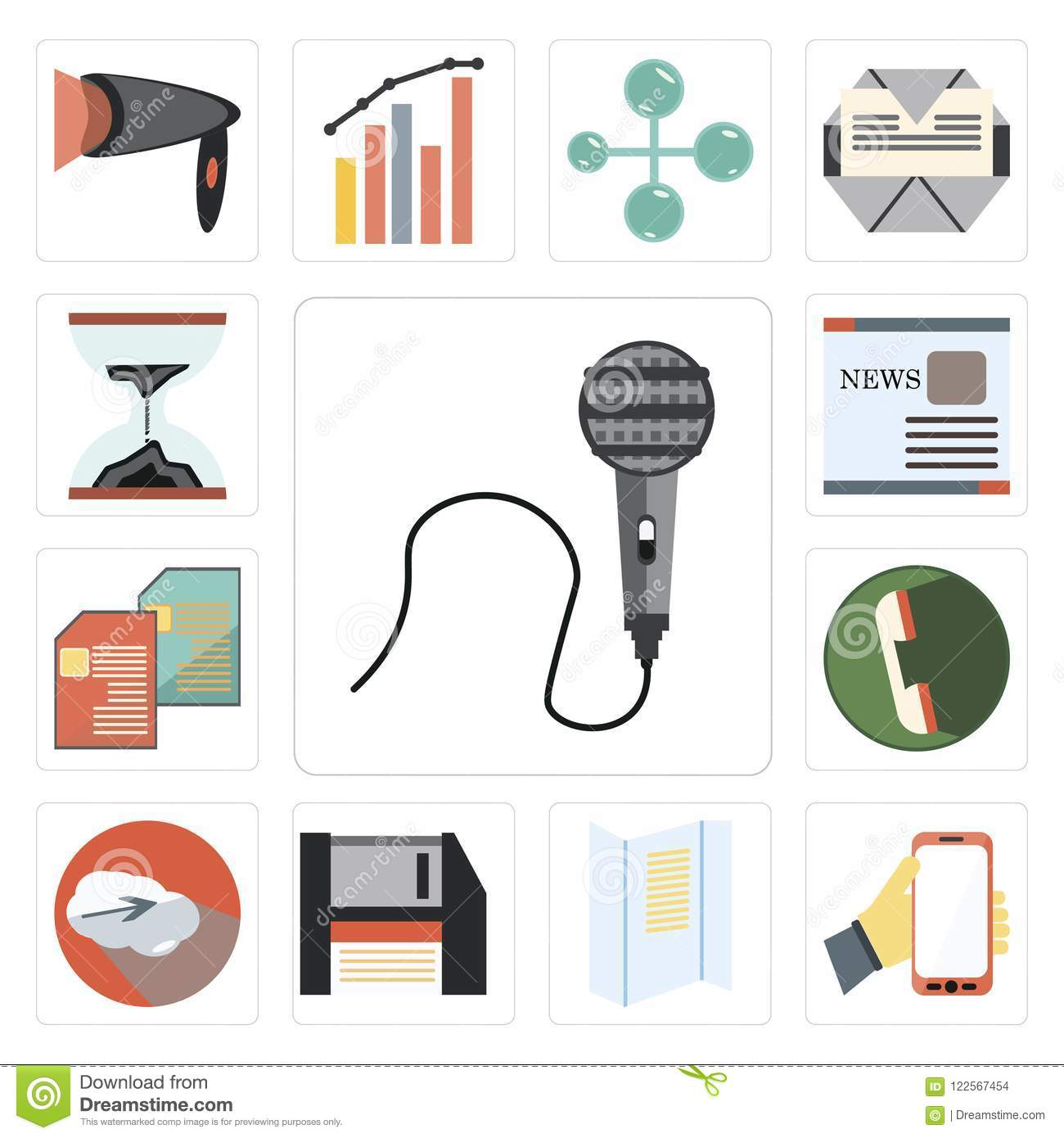 Set Of Voice Recorder, Mobile Phone, Text Lines, Floppy Disk