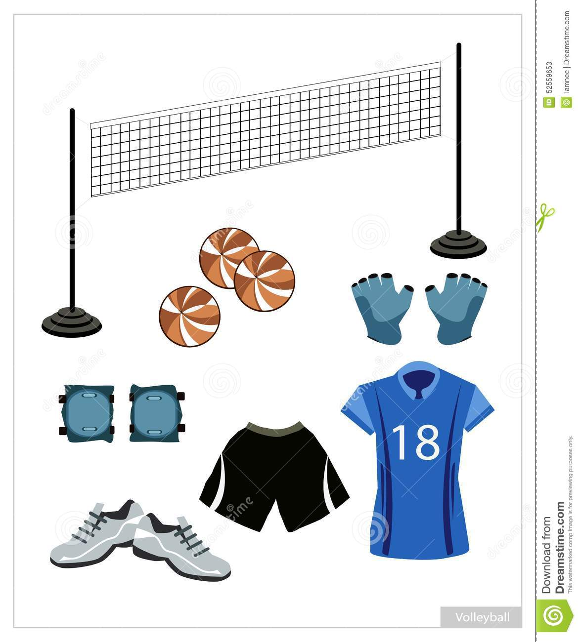 Set Of Volleyball Equipment On White Background Stock Vector - Image ...