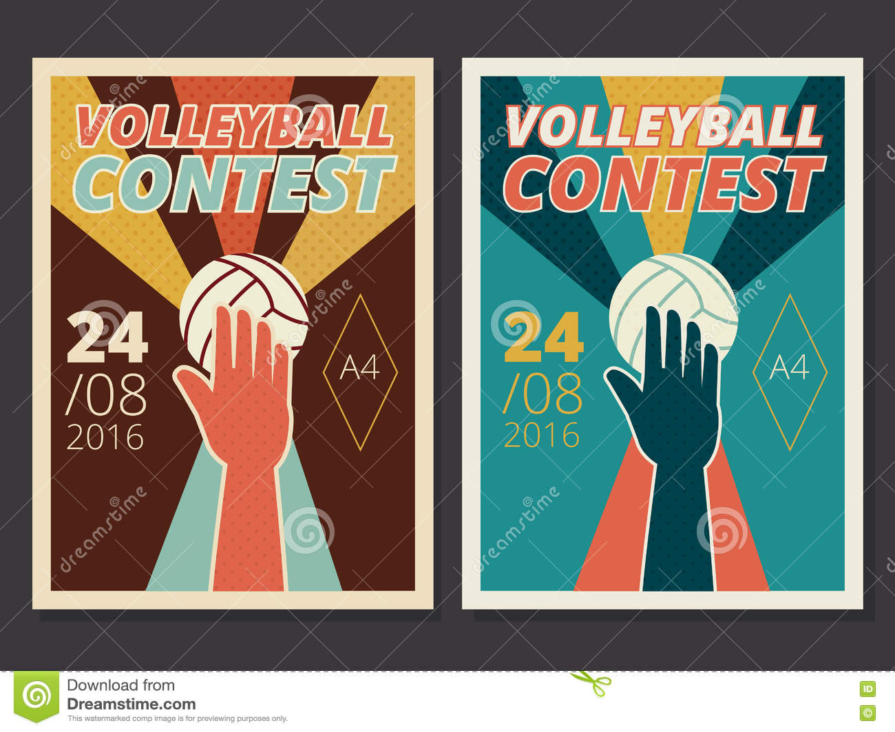 Poster design size - Set Of Volleyball Game Vector Poster And Flyer Design In A4 Size Stock Vector