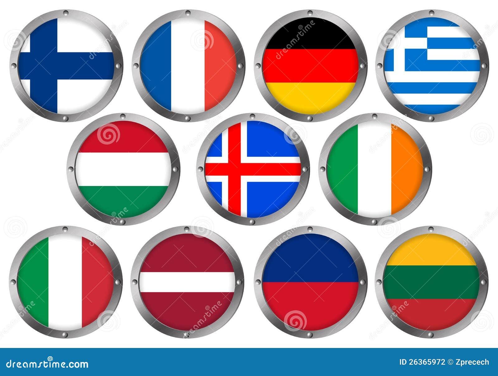 Set von 11 Markierungsfahnen im runden Metall Feld-Europa 2