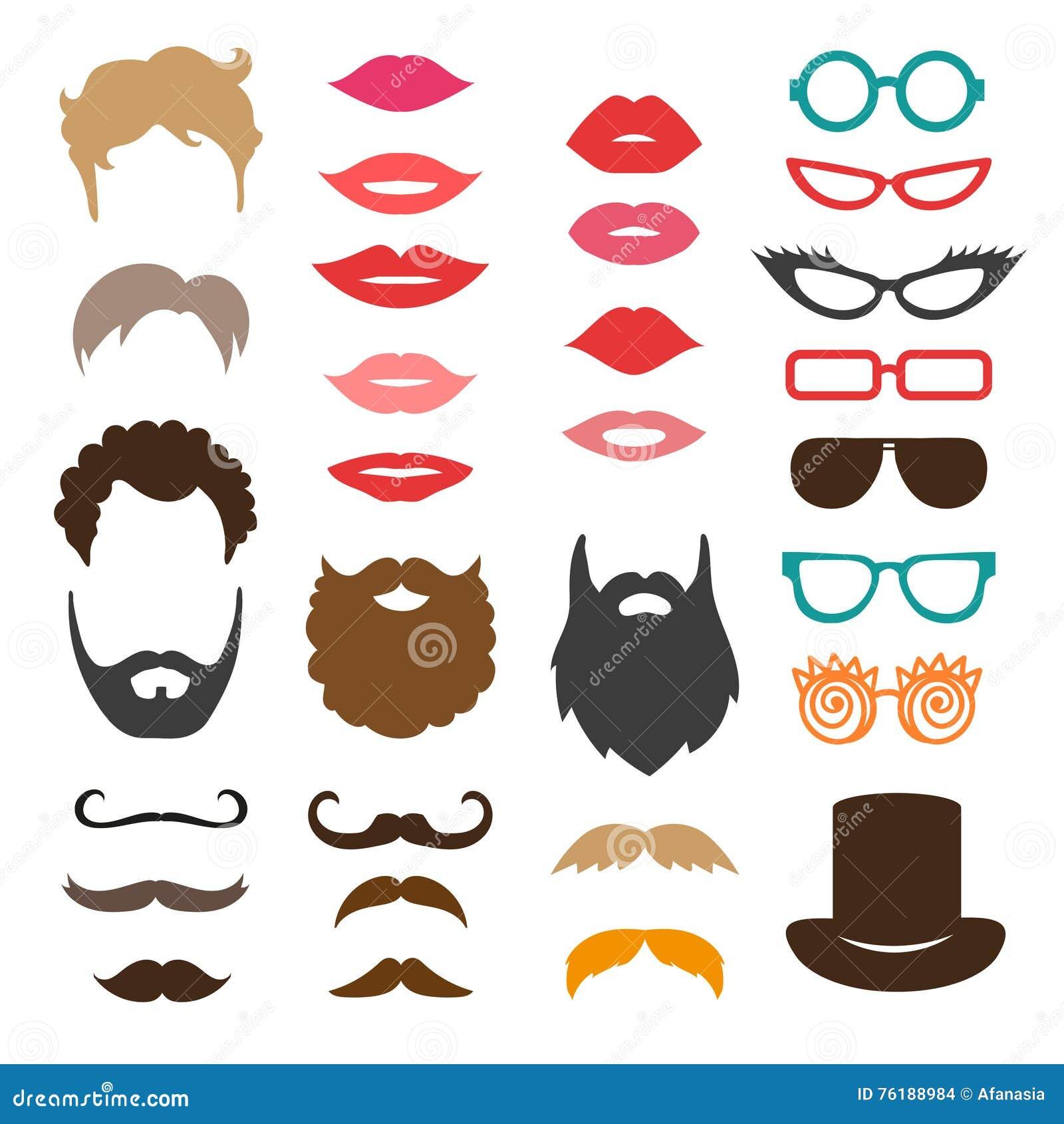 Set wąsy, brody, ostrzyżenia, wargi i okulary przeciwsłoneczni,