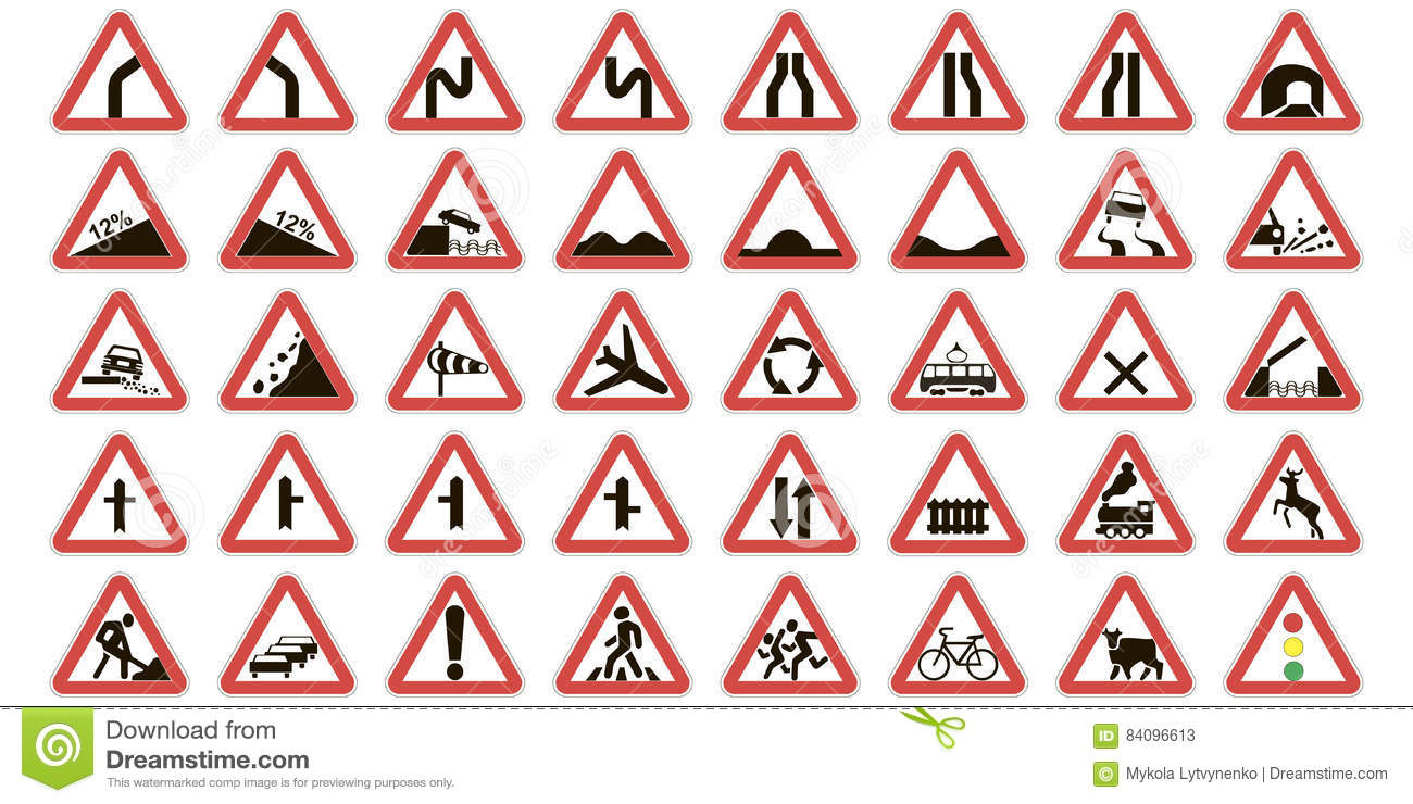 Set Warning Road Signs Stock Vector Illustration Of Icon 84096613
