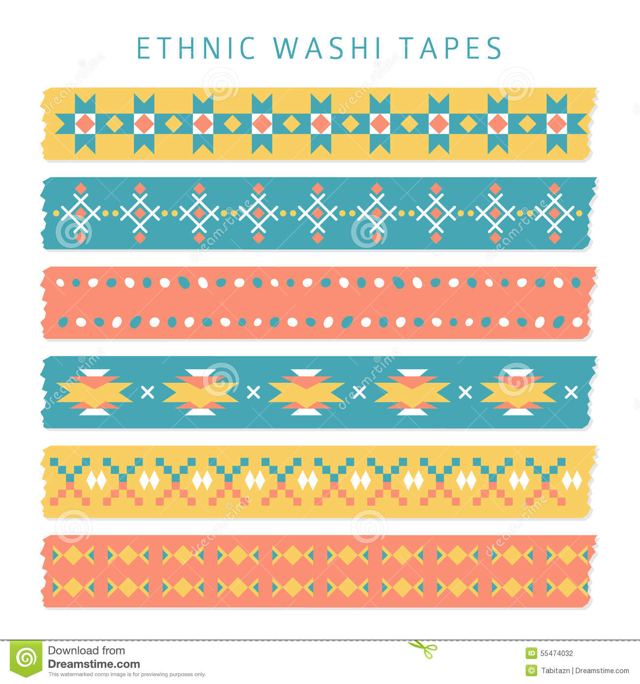 Set of washi tapes with trendy Aztec, Mexican or Navajo patterns, ethnic