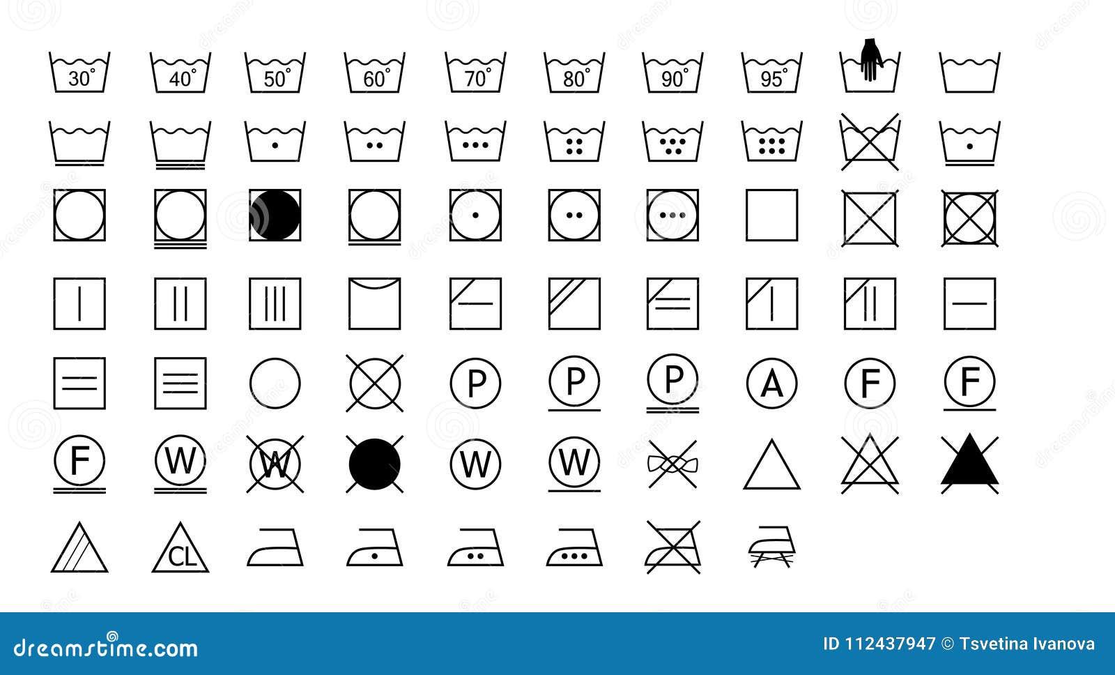 Set Of Washing Instructions Icons Stock Vector Illustration Of
