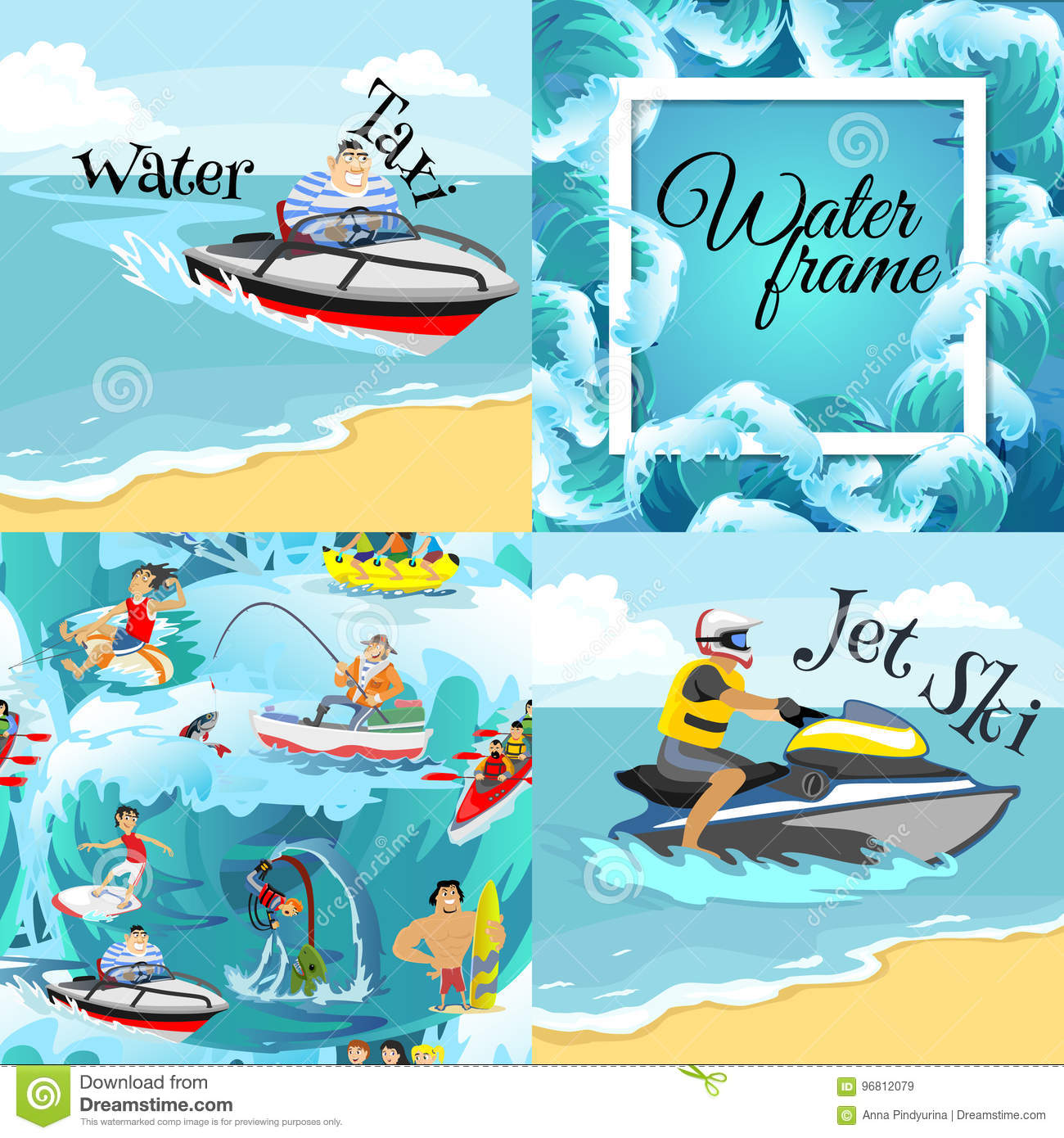 Set Of Water Extreme Sports Backgrounds, Isolated Design