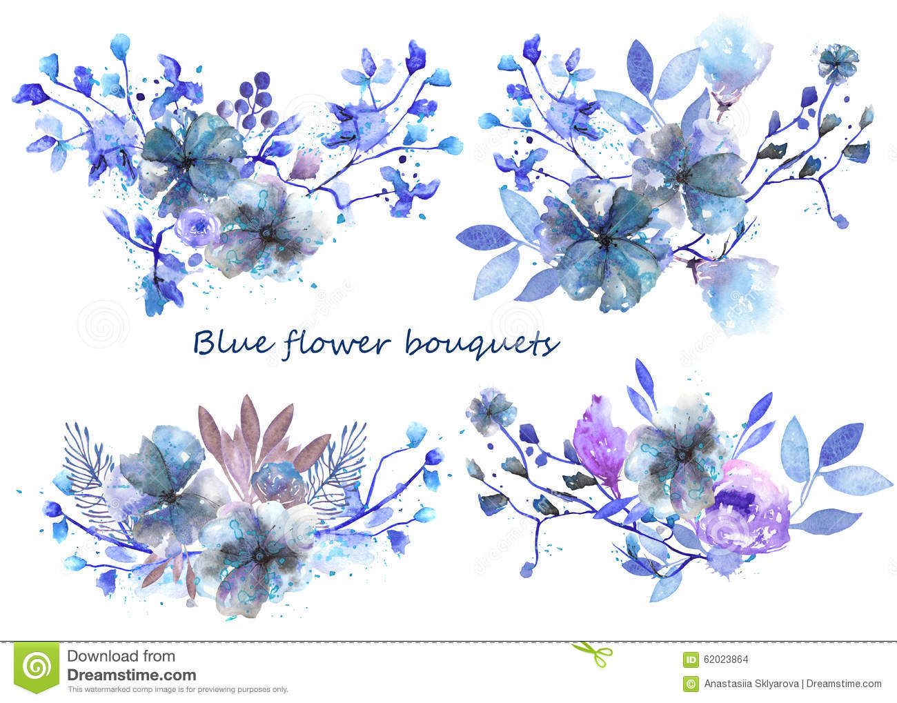Set Of Watercolor Bouquets With Blue Flowers And Leaves Stock
