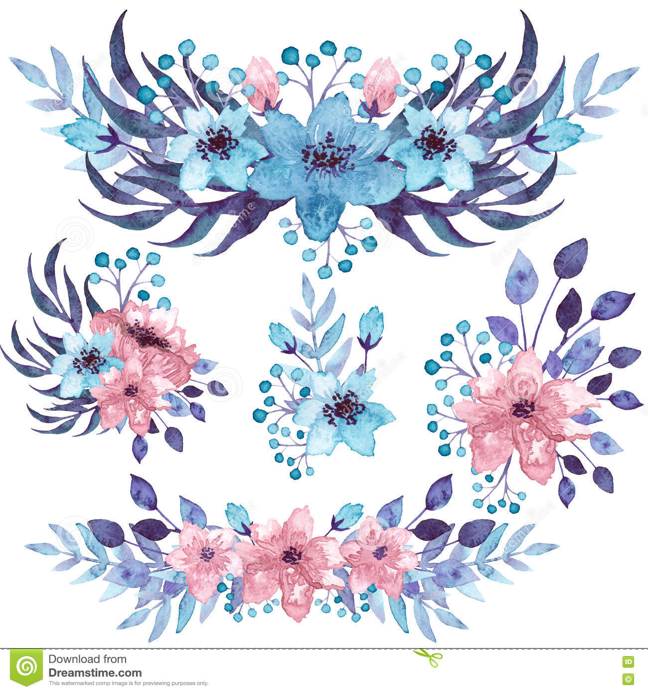 Set Of Watercolor Bouquets With Blue And Pink Flowers Stock