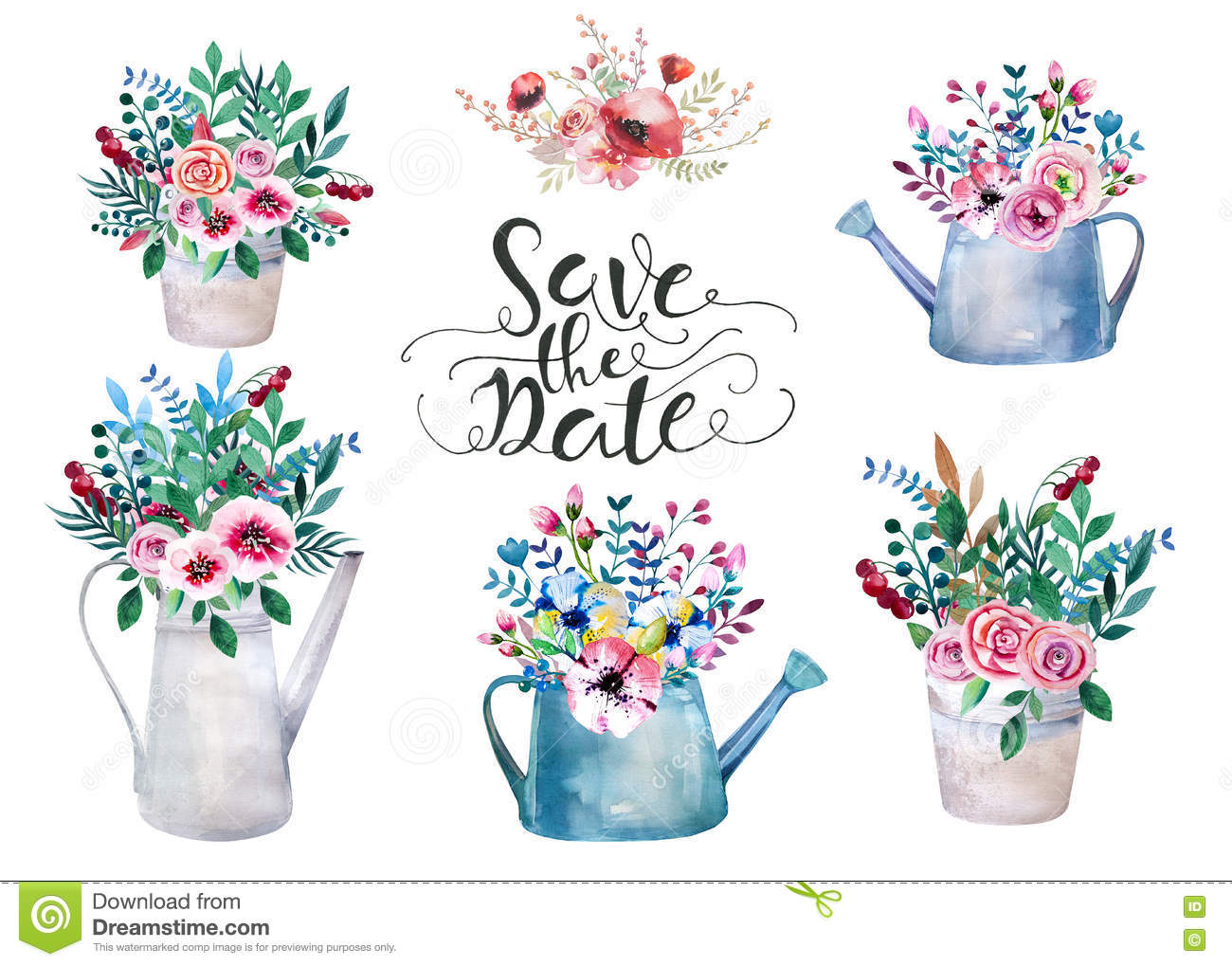 Set of watercolor bouquets. spring flowers in pot. Rustic