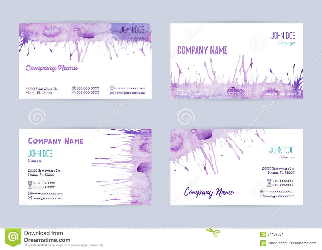 Set Of Watercolor Business Cards Stock Vector - Illustration of ...