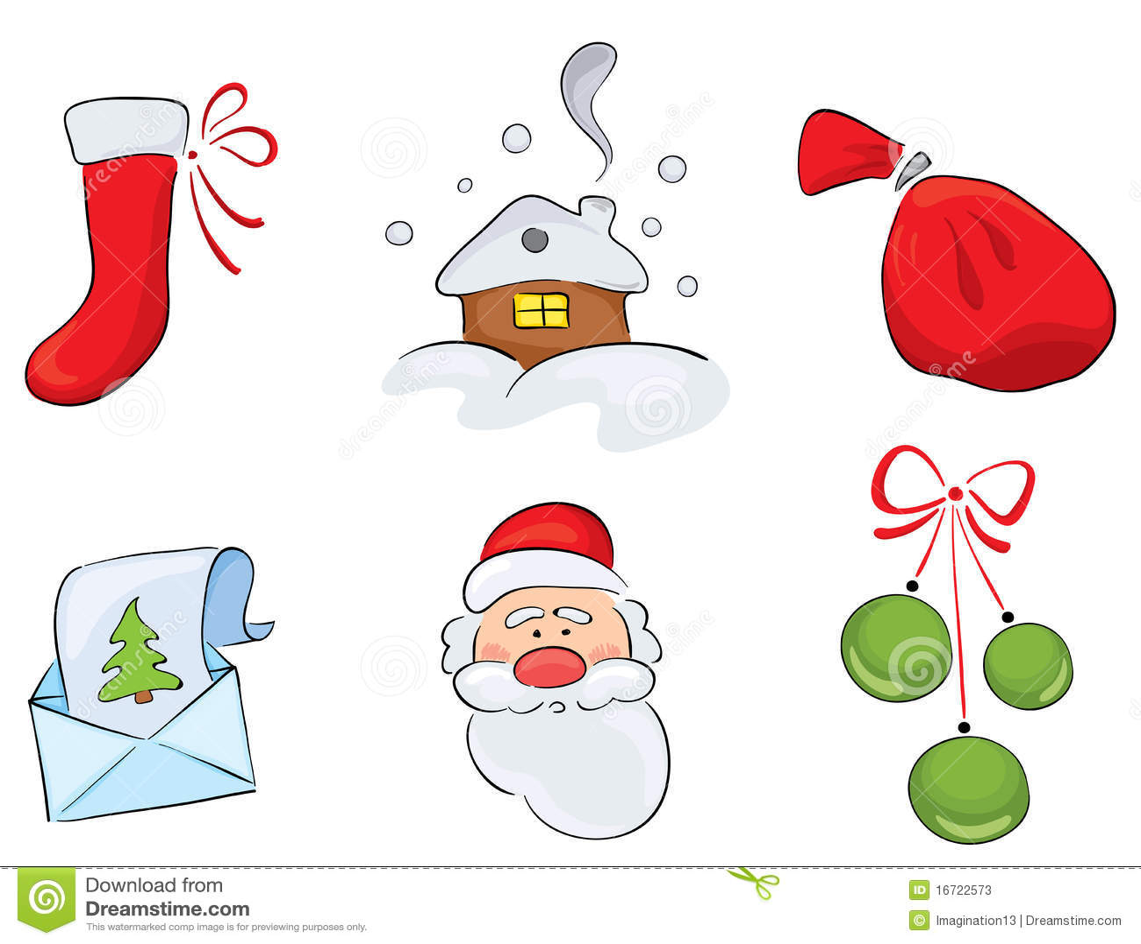 Set Of Watercolor Christmas Drawings Stock Photos Image