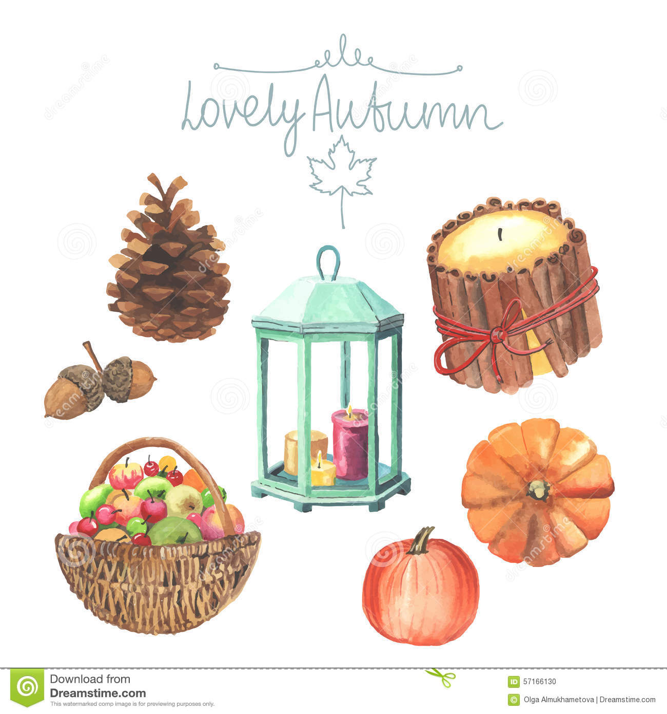 Set Of Watercolor Cute Autumn Elements Stock Vector