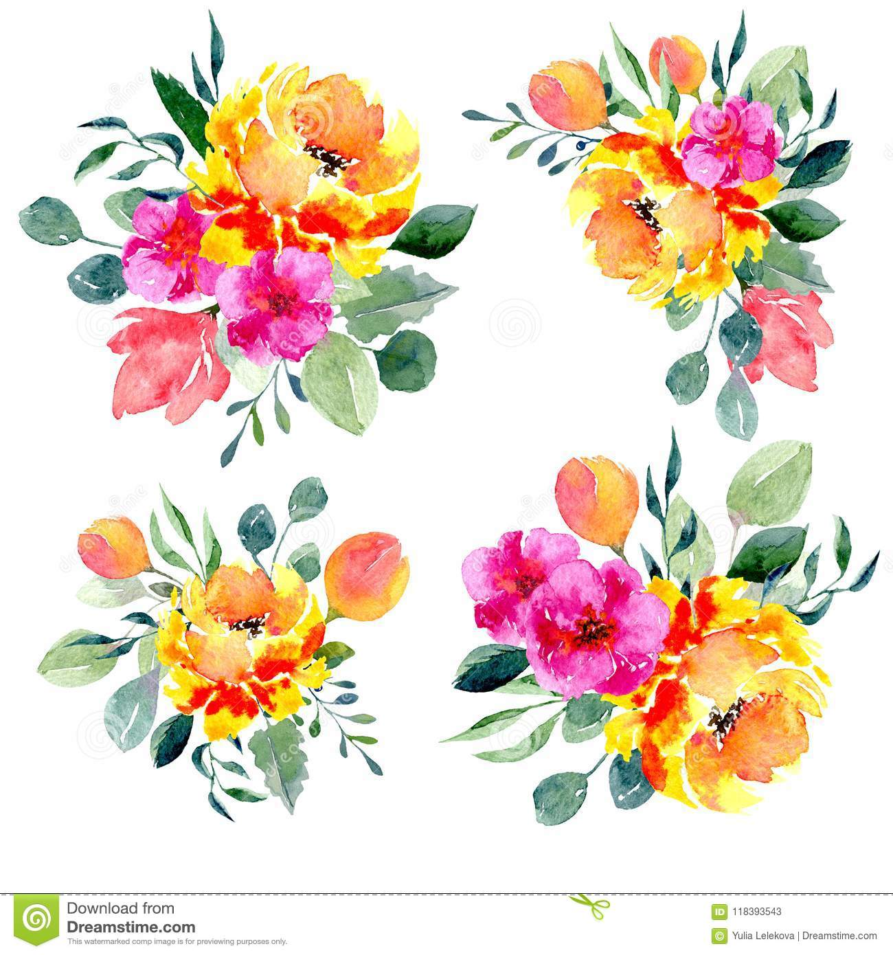 set of watercolor floral arrangements collection of natural hand