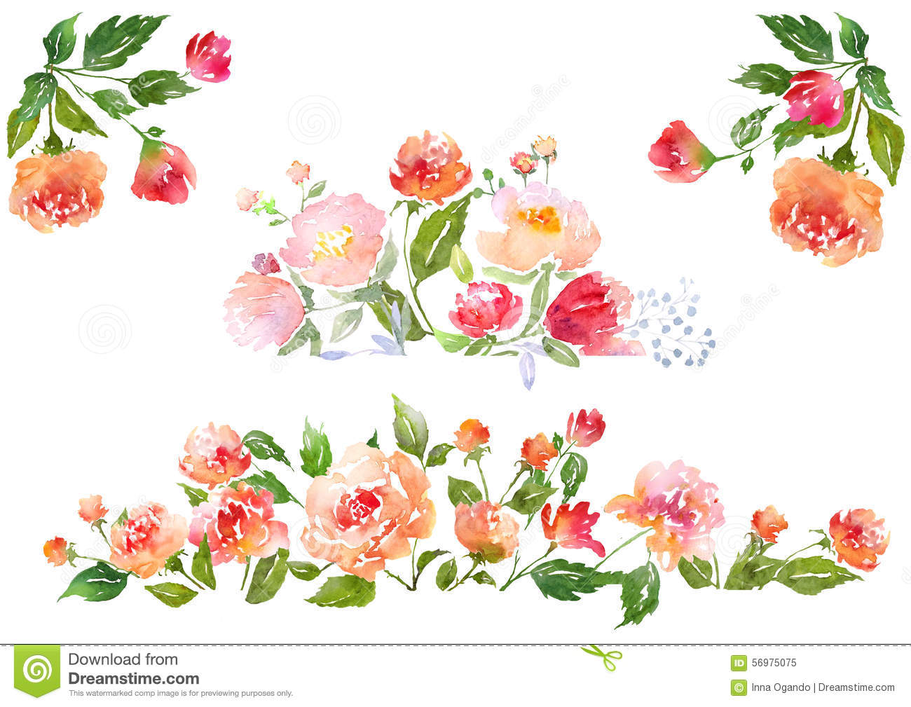 Set Of Watercolor Floral Composition Stock Illustration