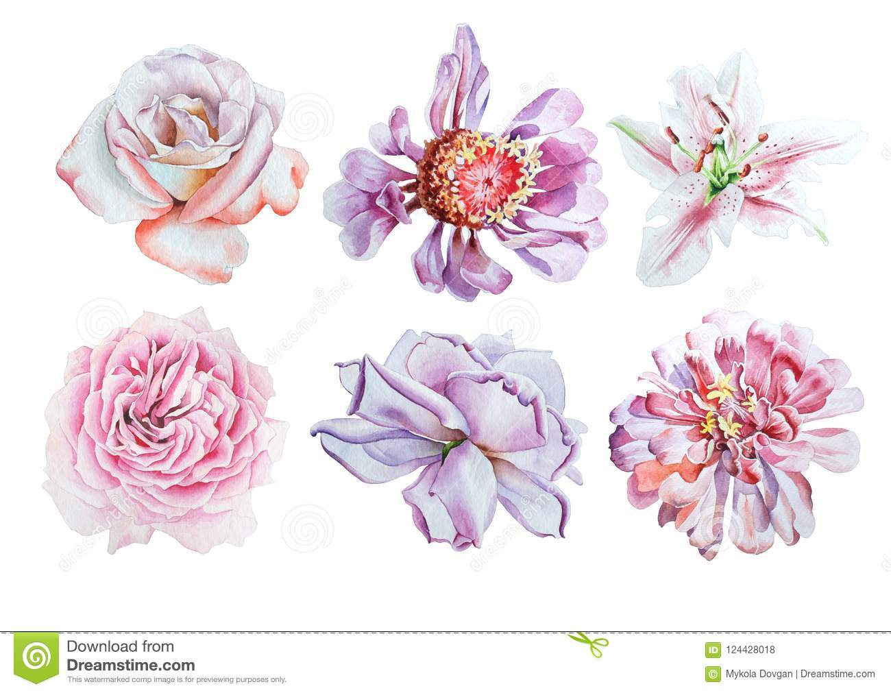 Set With Watercolor Flowers Lily Rose Peony Stock Illustration