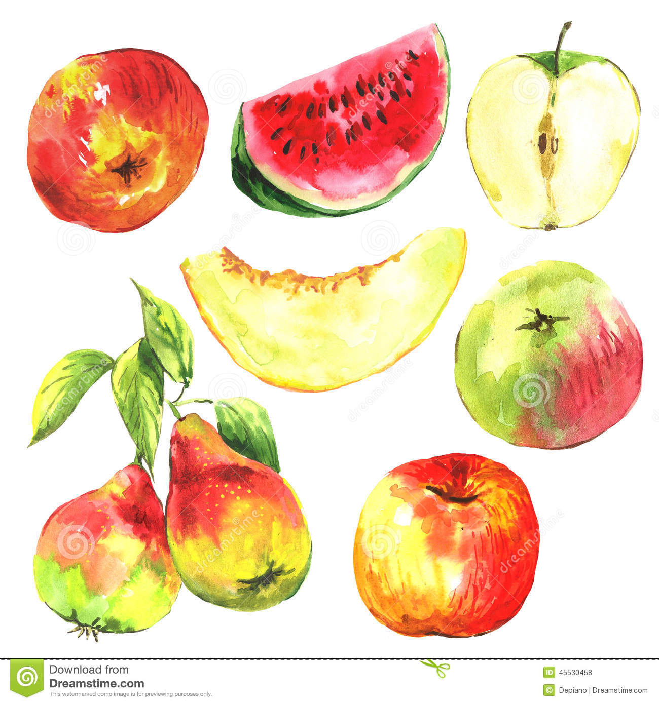 Set Of Watercolor Fruit On A White Background Stock Illustration ...