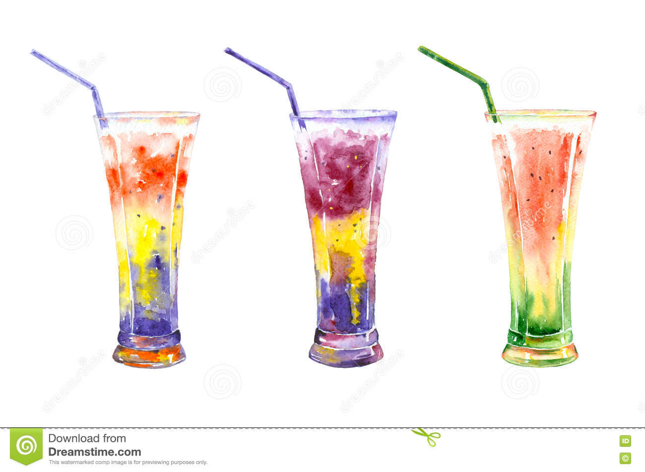 Set of watercolor juice stock illustration image of for Paint and cocktails