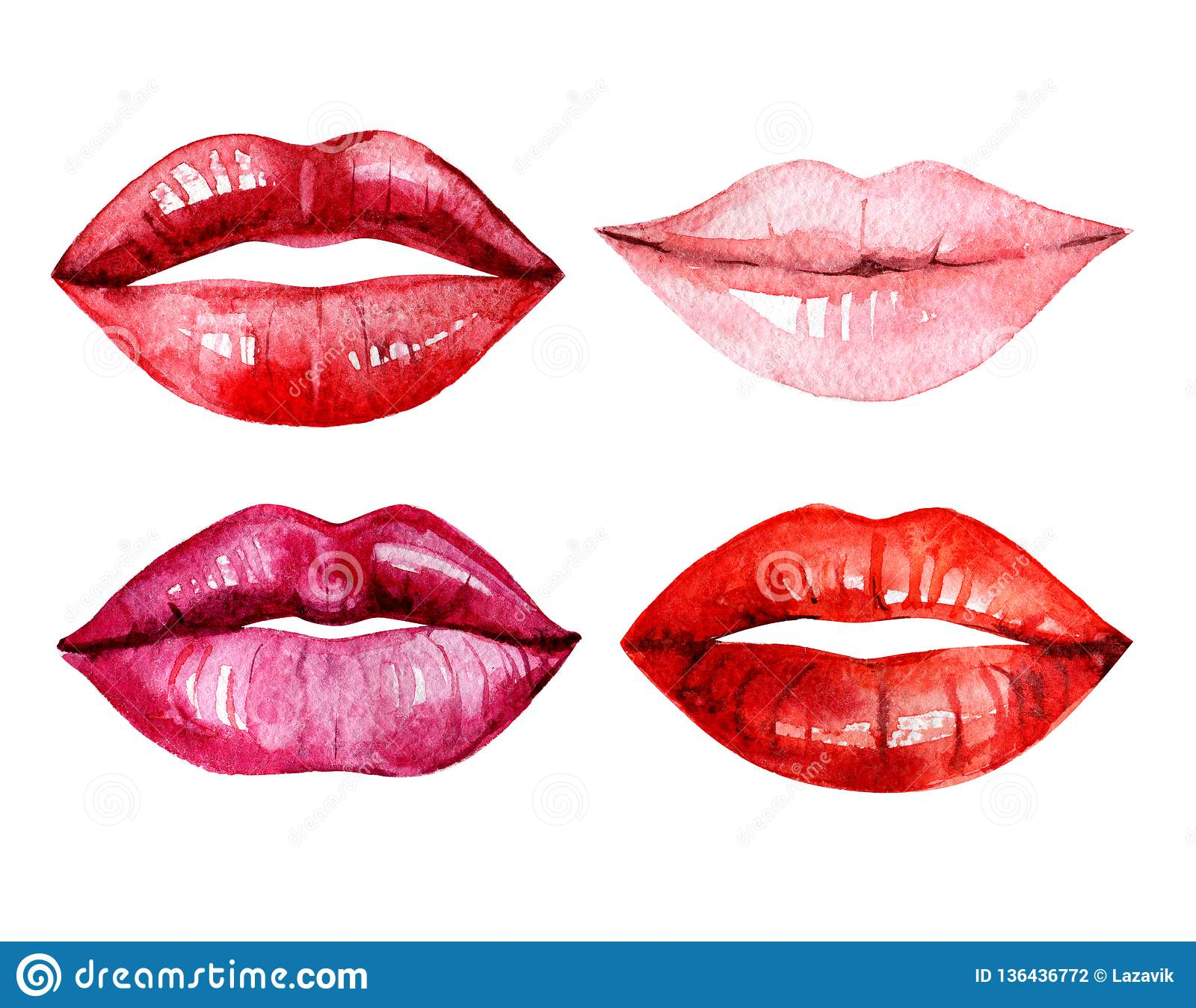 Set of watercolor lips, isolated on white background, illustration