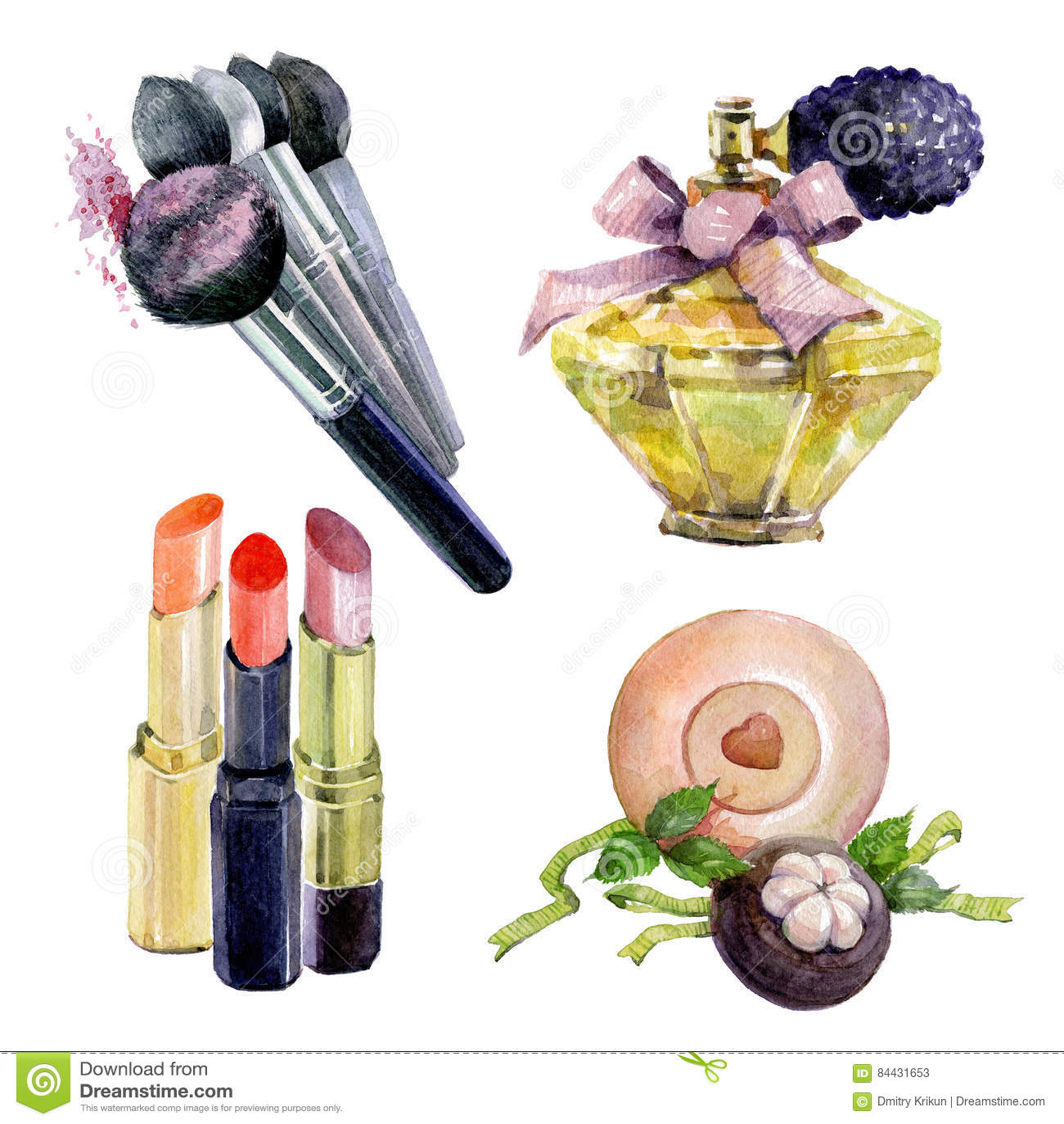 Lipstick bathroom set - Set Of Watercolor Lipstick Makeup Brush Perfume Handmade Bath Soap