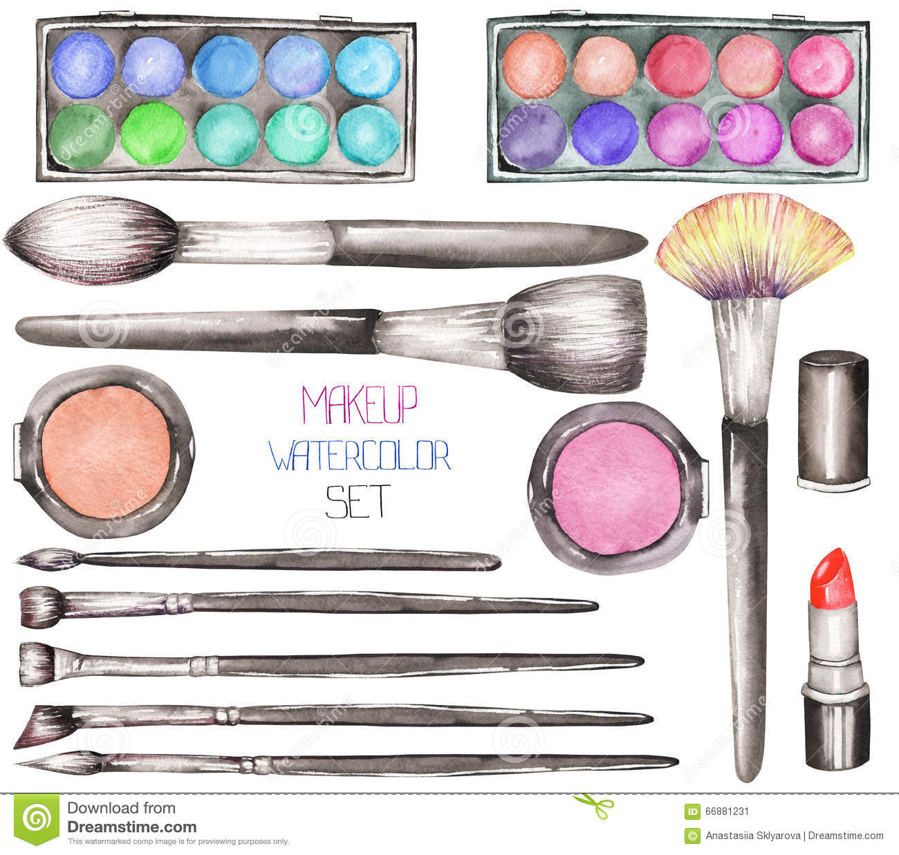 a set with the watercolor makeup tools blusher  eyeshadow cosmetology clip art images free cosmetology clip art for classroom