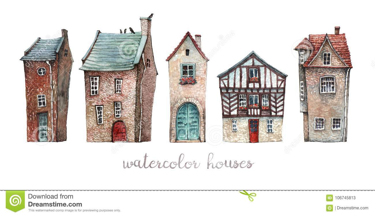 a set of watercolor old houses stock illustration illustration of