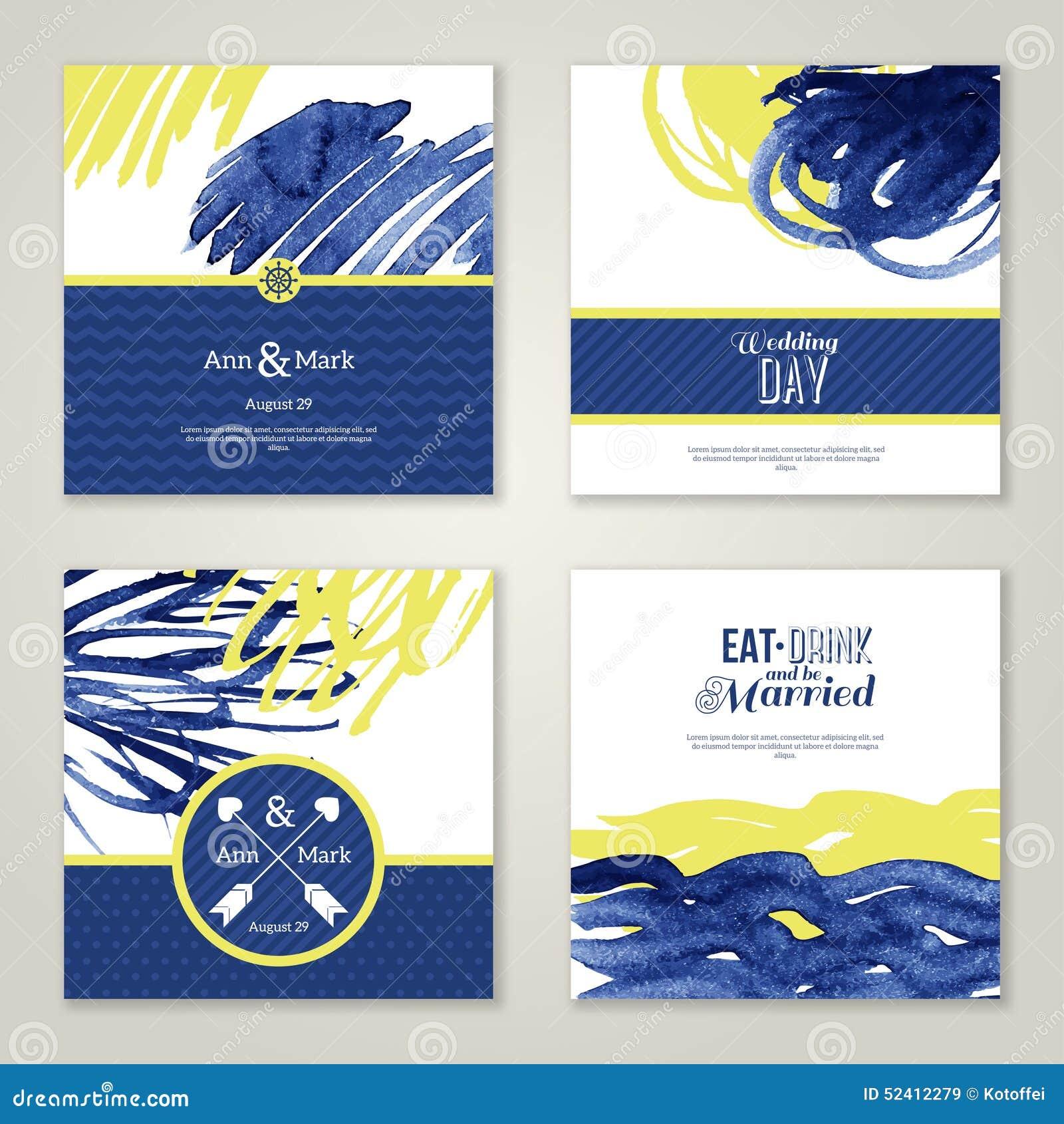 Marine Wedding Invitations: Set Of Watercolor Romantic Wedding Invitations Stock