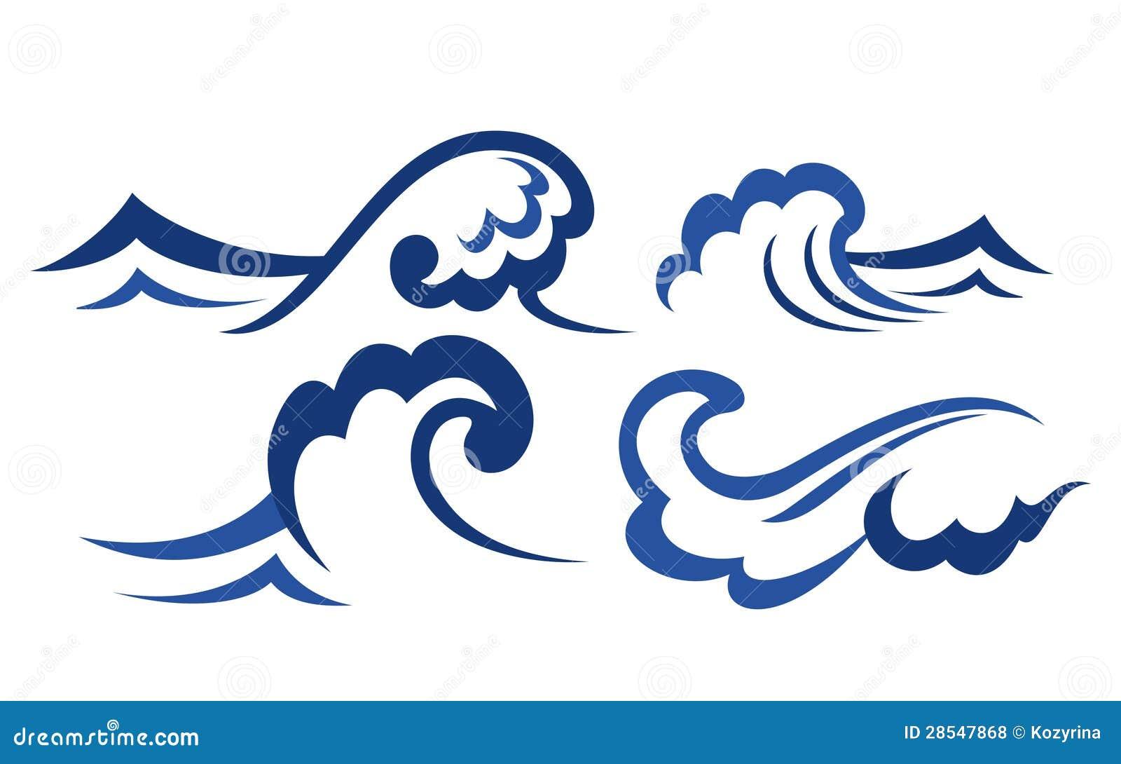 Set Of Wave Symbols Royalty Free Stock Photos Image