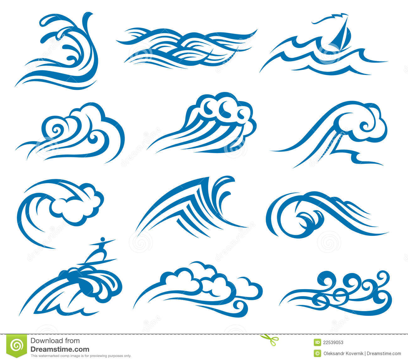 Set Of Waves Stock Photos Image 22539053