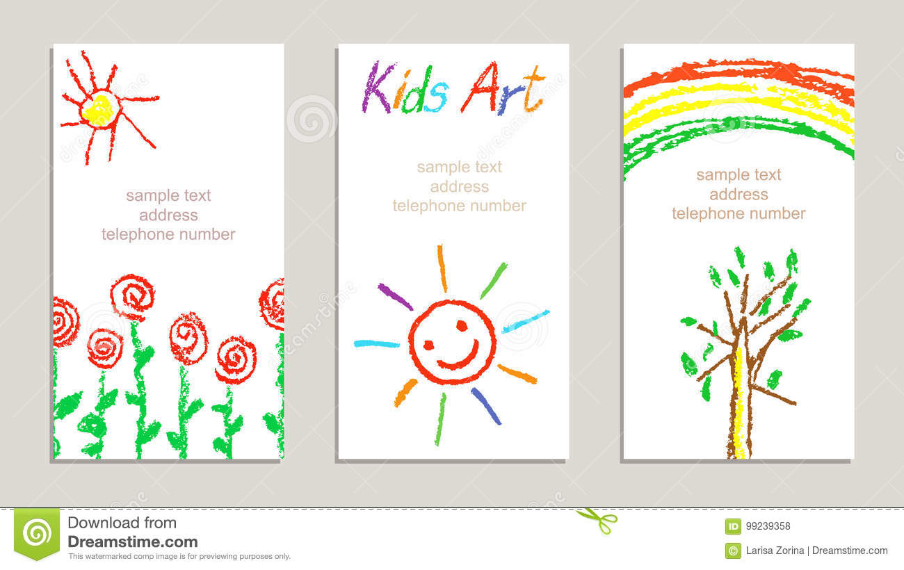 Set of wax crayon kid`s drawn colorful cards with hand drawing flowers, rainbow, sun, tree, letters on white.