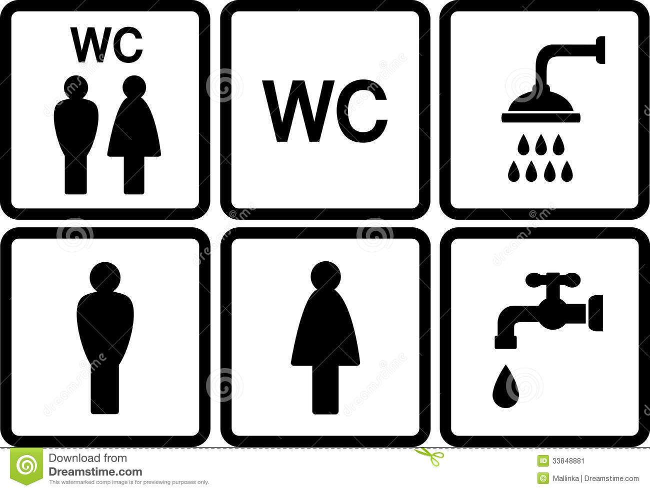 Set Of Wc Icons With Shower And Tap Stock Image - Image: 33848881