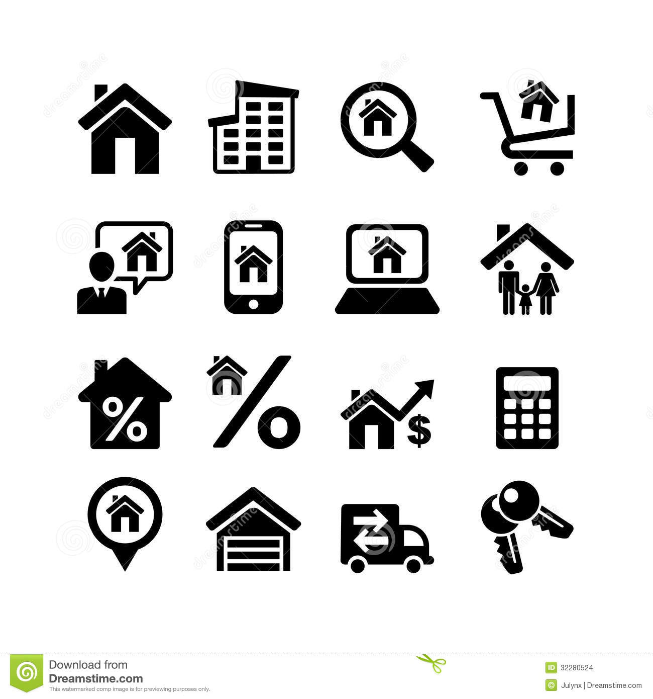 Set 16 Web Icons Real Estate Stock Images Image 32280524