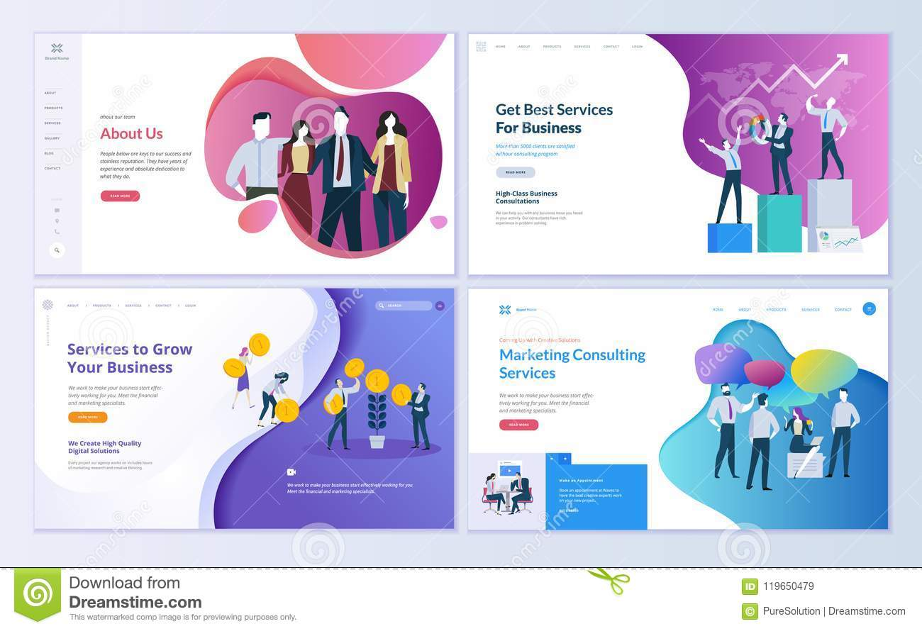 Set of web page design templates for business finance and marketing download set of web page design templates for business finance and marketing stock vector accmission Image collections