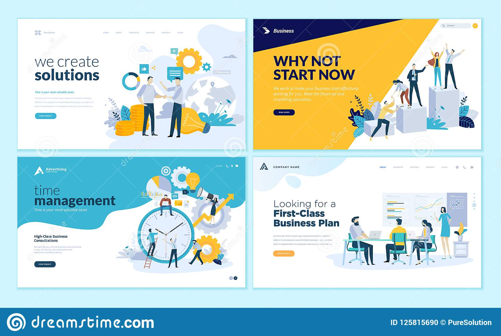 set of web page design templates for business solutions startup