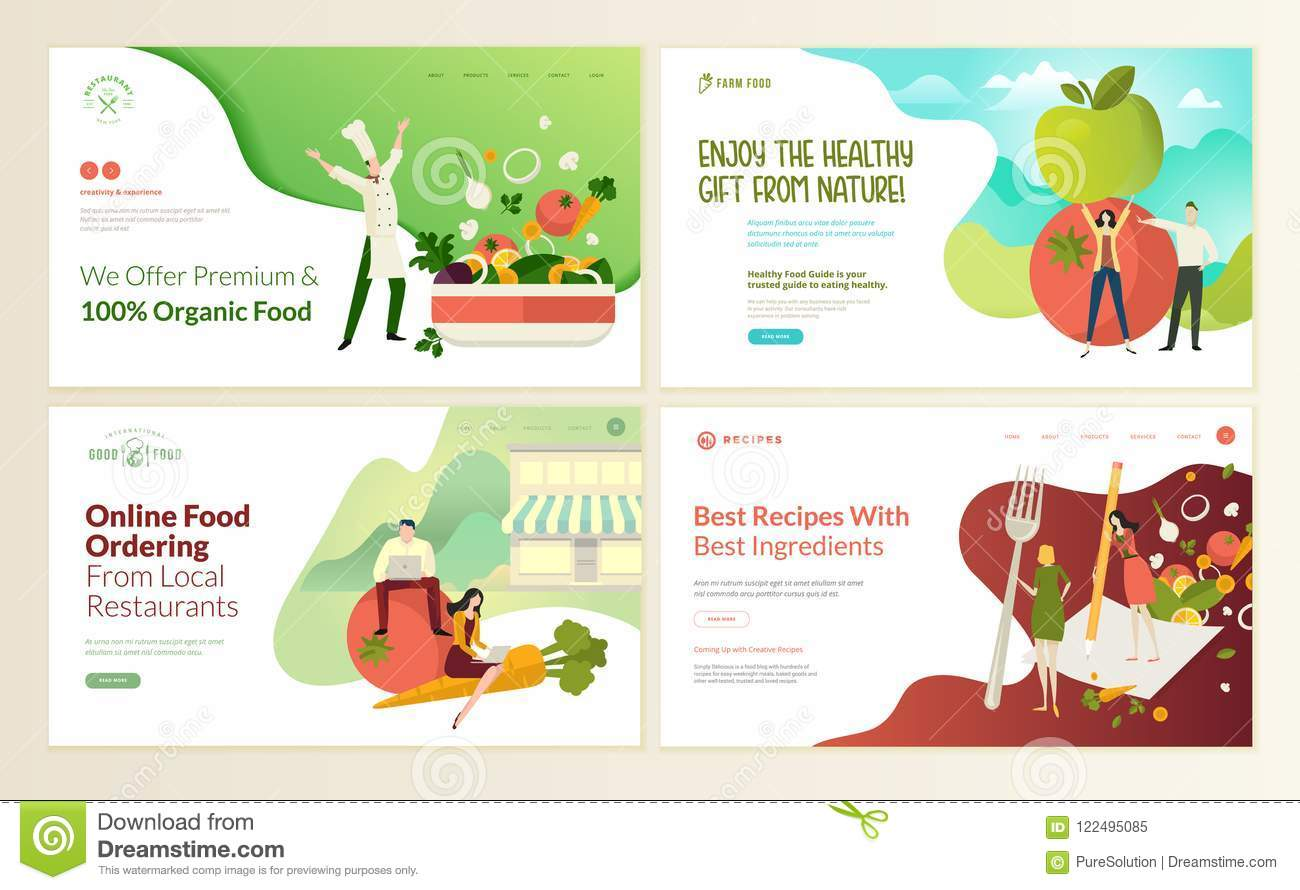 Set Of Web Page Design Templates For Organic Food And Drink Natural Products Restaurant Online Food Ordering Recipes Stock Vector Illustration Of Banner Fruit 122495085