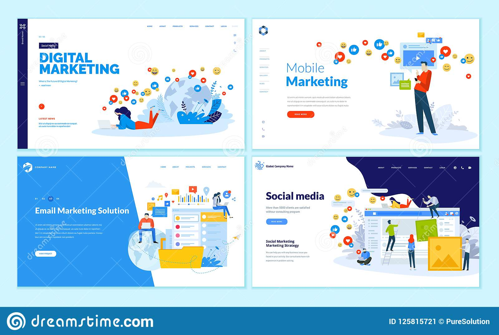 Set Of Web Page Design Templates For Social Media Online Marketing
