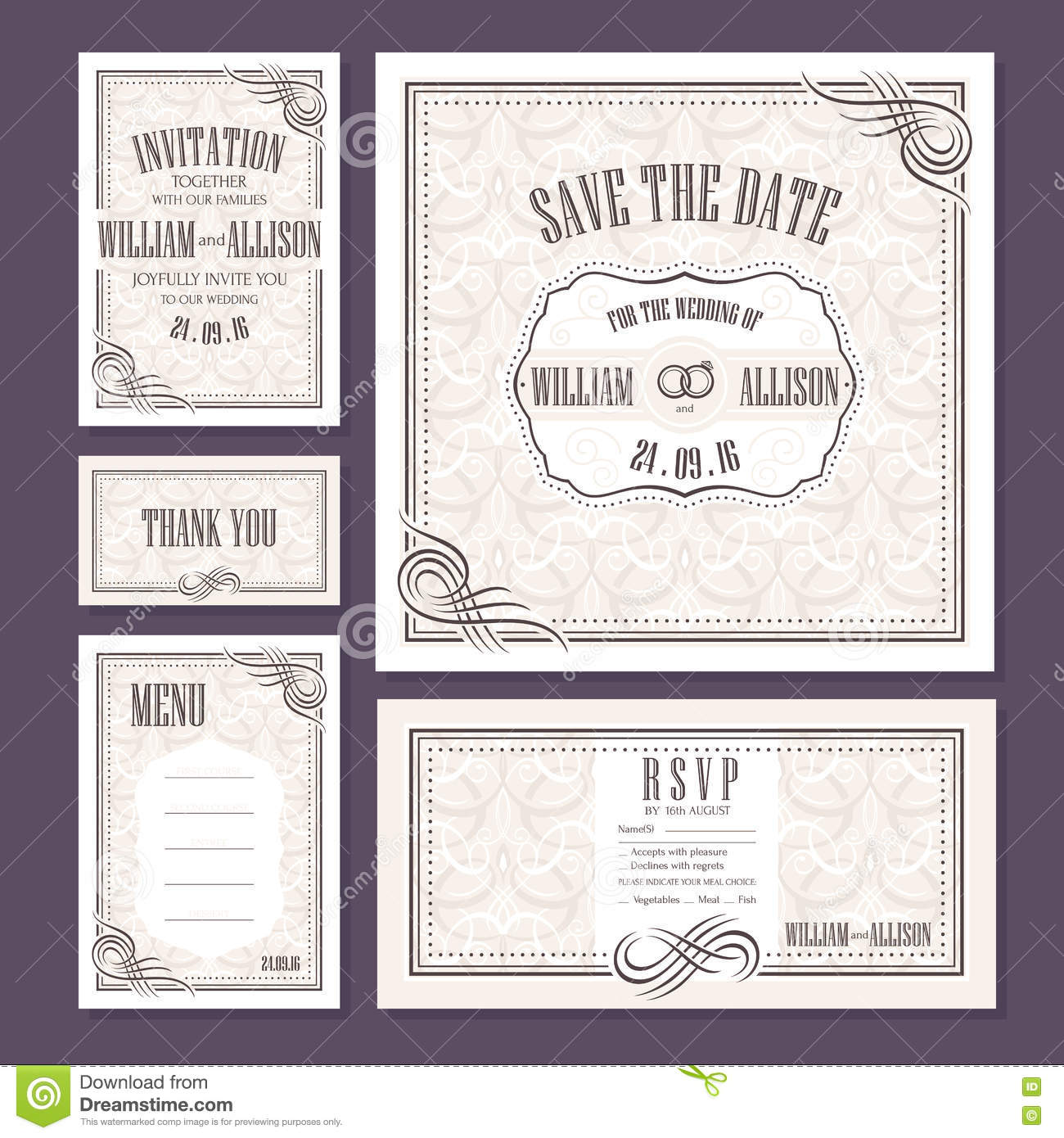 Set Of Wedding Cards Stock Vector. Image Of Course, Card