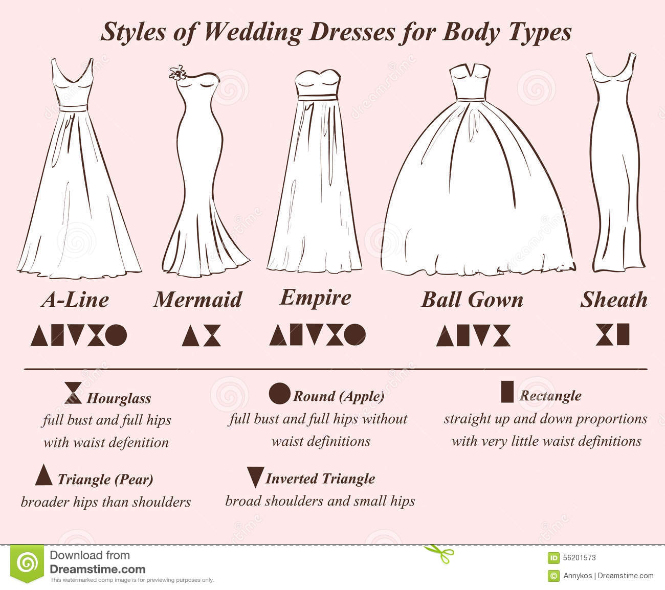 Set Of Wedding Dress Styles Stock Vector Illustration Of Apple