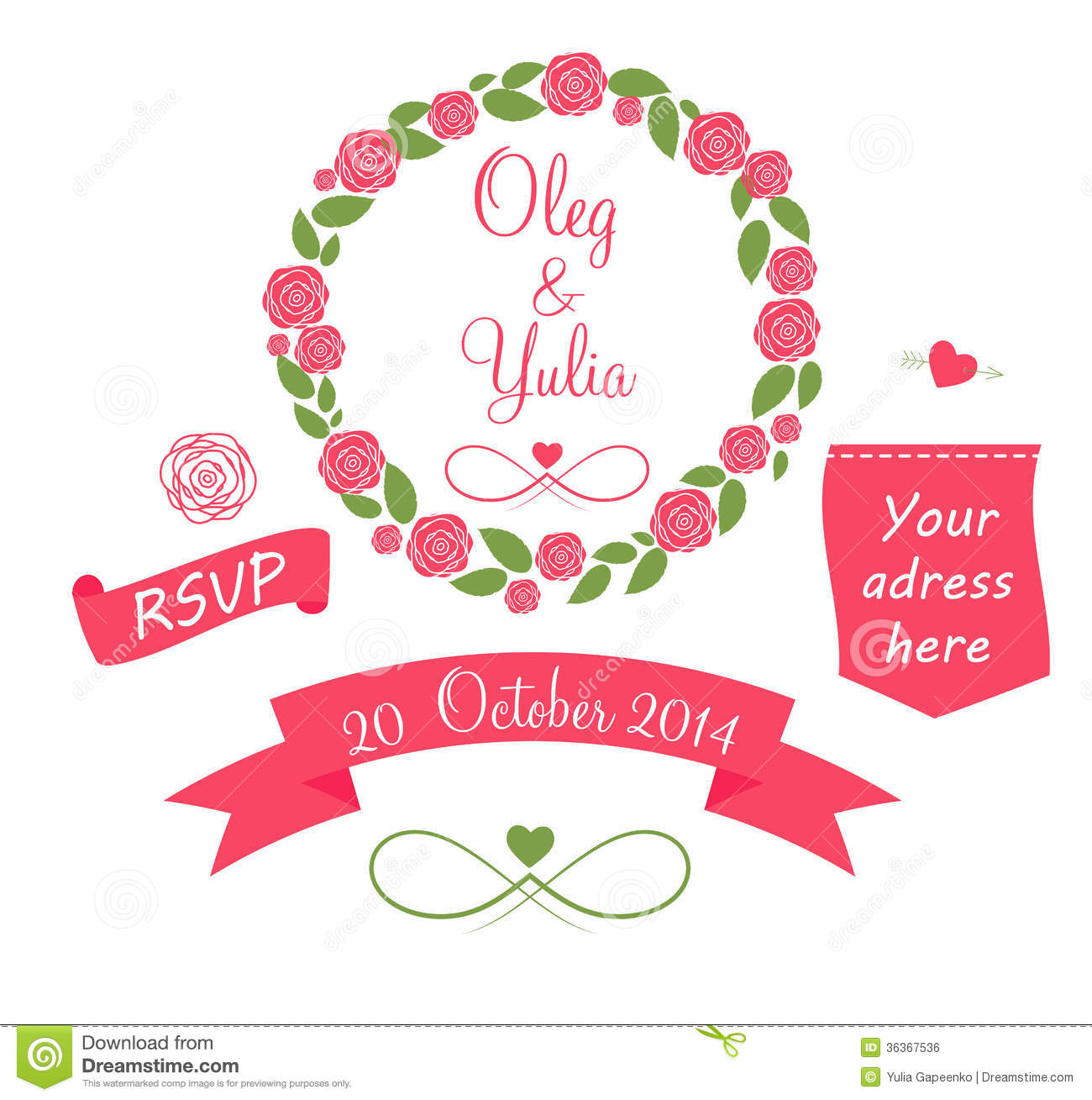 Wedding Graphics: Set Of Wedding Graphic Elements With Arrows, Royalty Free