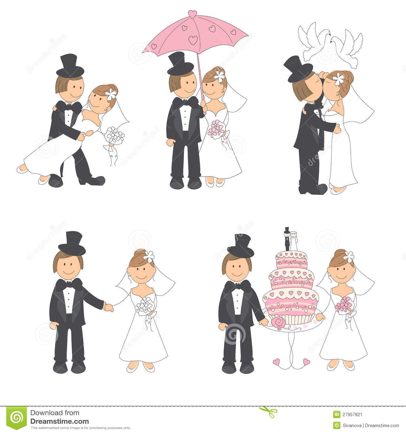 Set Of Wedding Illustration Stock Image Image 27957821