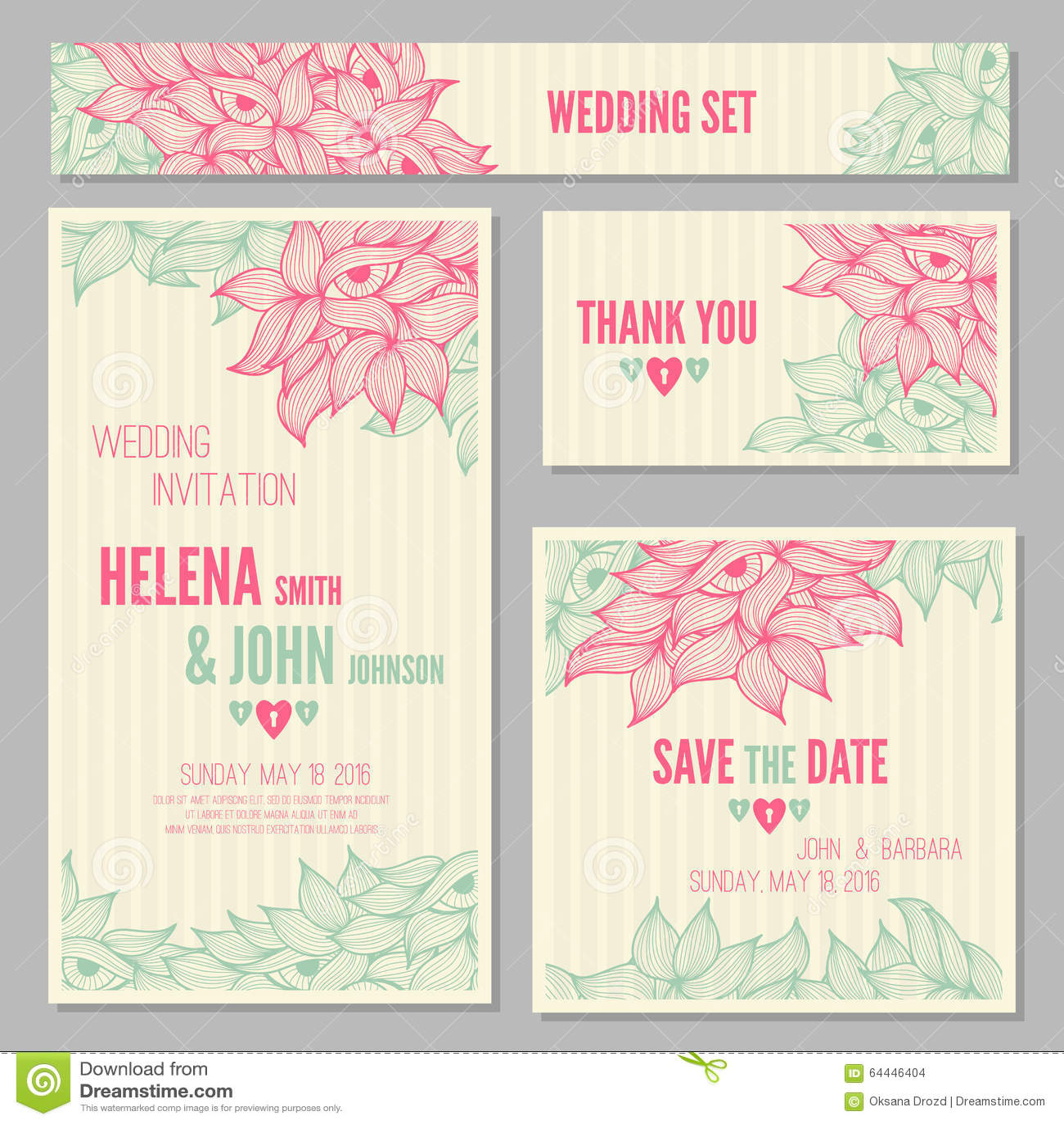 Set of wedding invitation or anniversary cards stock vector set of wedding invitation or anniversary cards stopboris Gallery