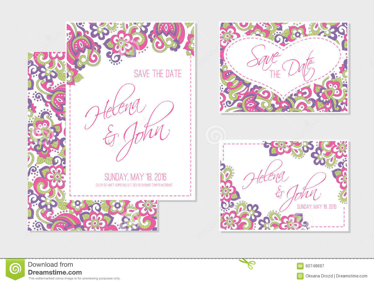 Set Of Wedding, Invitation Or Anniversary Cards With Colorful Floral  Background  Print Your Own Anniversary Card