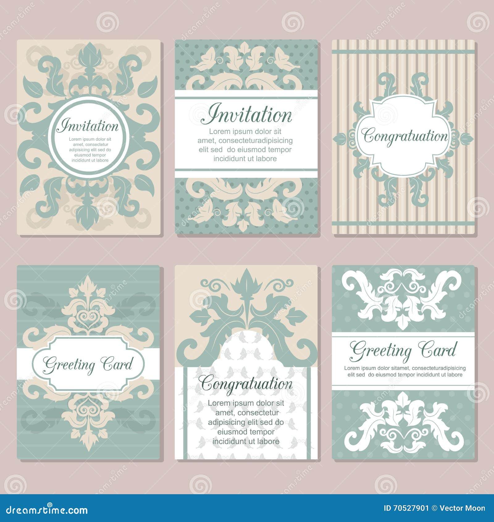 Set Of Wedding Invitation Card Design Flyer Pages Ornament Vector ...