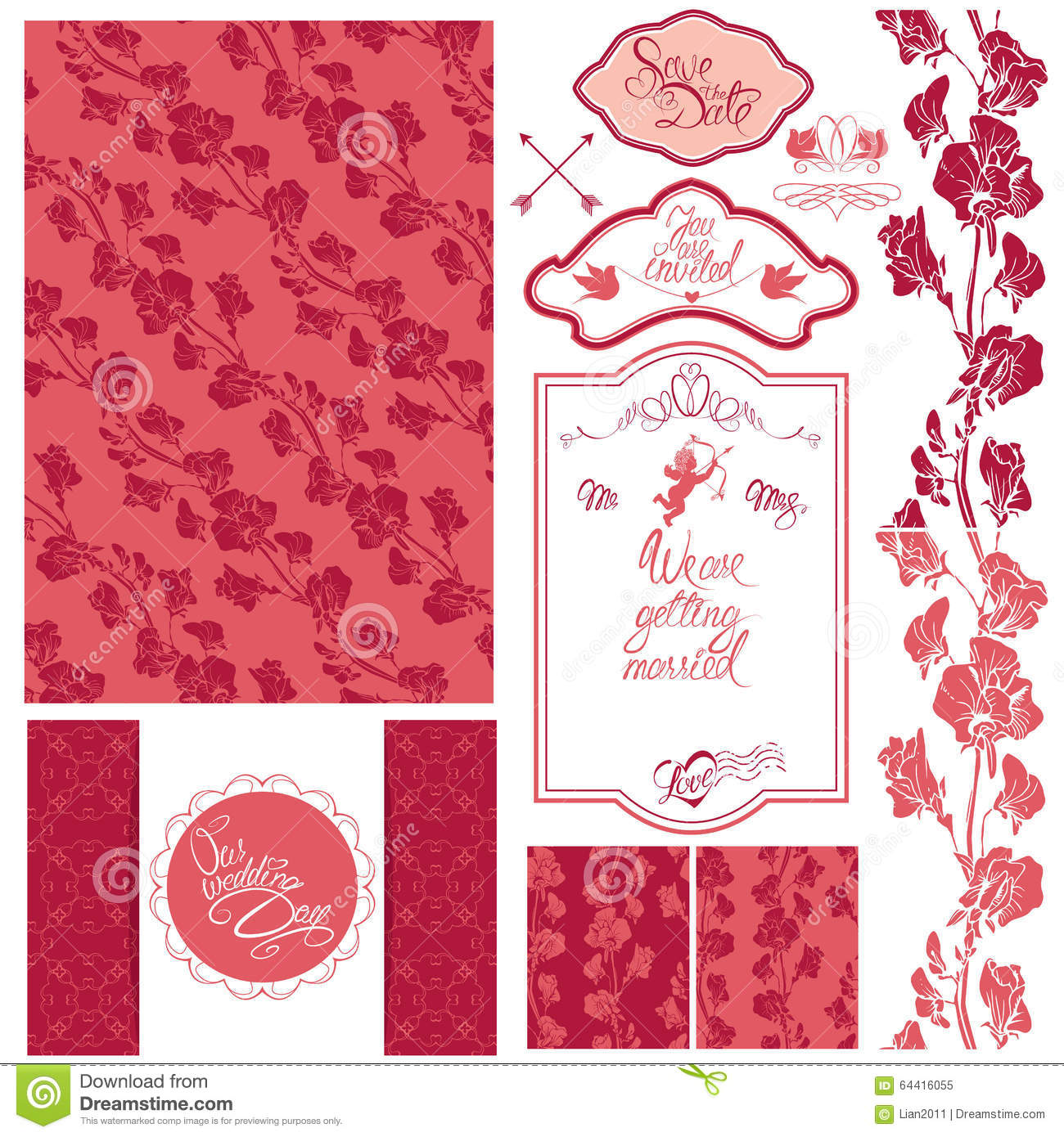 Set Of Wedding Invitation Card With Floral Elements, Frames And ...